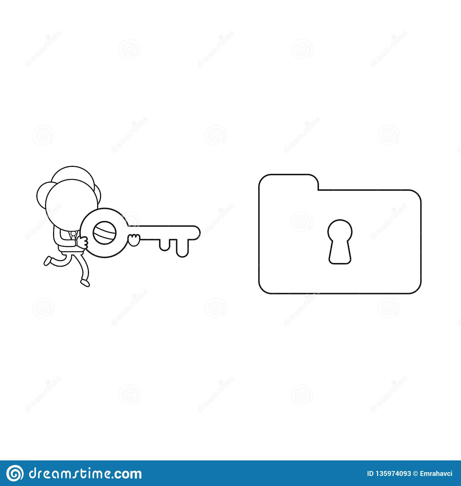 Vector illustration of businessman character running and carrying keyhole to lock or unlock file folder. Black outline