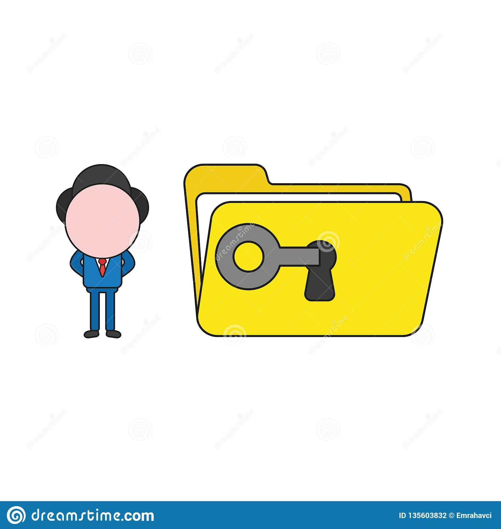 Vector illustration of businessman character unlock file folder with key. Color and black outlines
