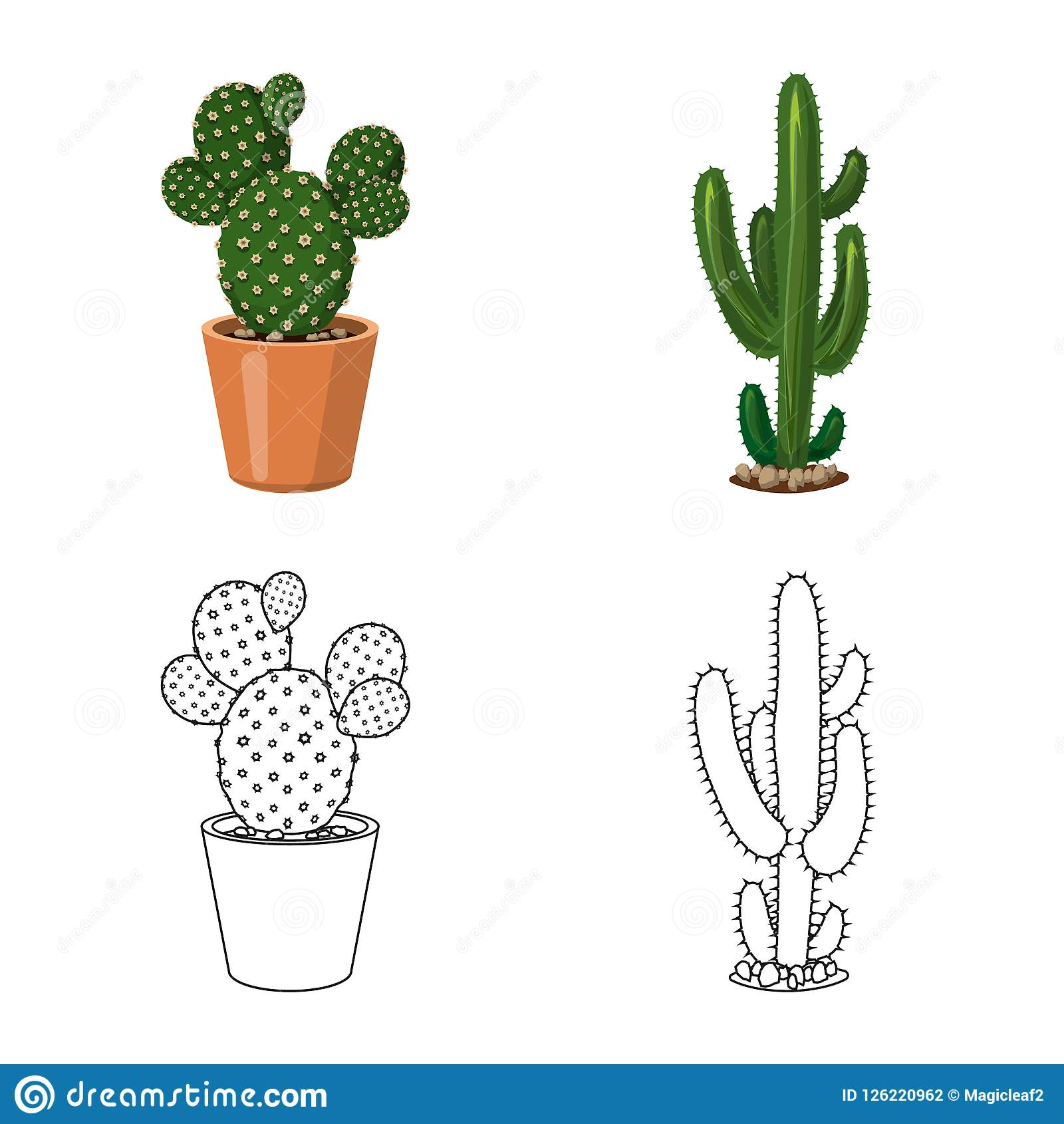 Vector Design Of Cactus And Pot Logo Set Of Cactus And Cacti Stock