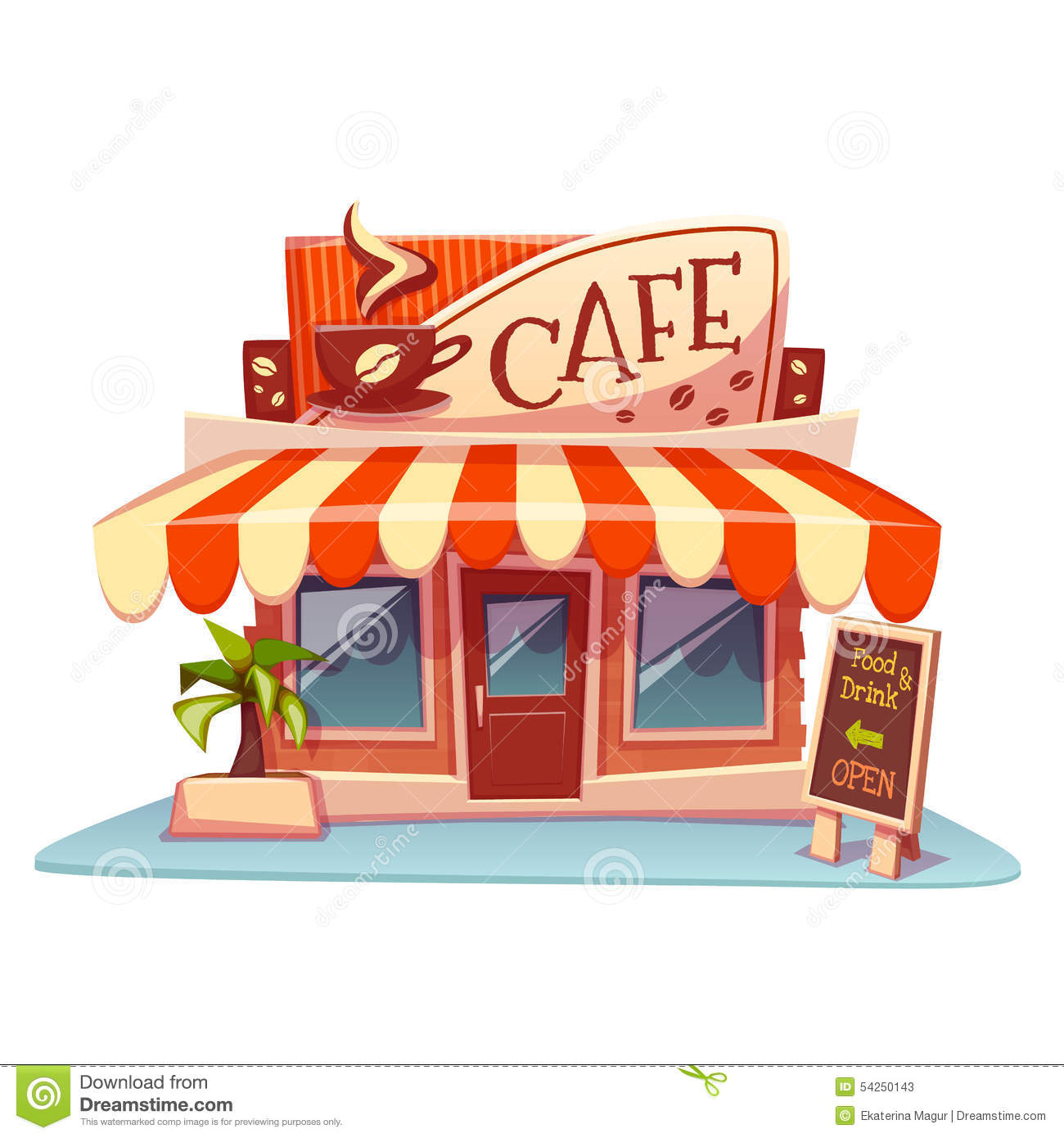 Vector Illustration Of Cafe Building With Bright Stock