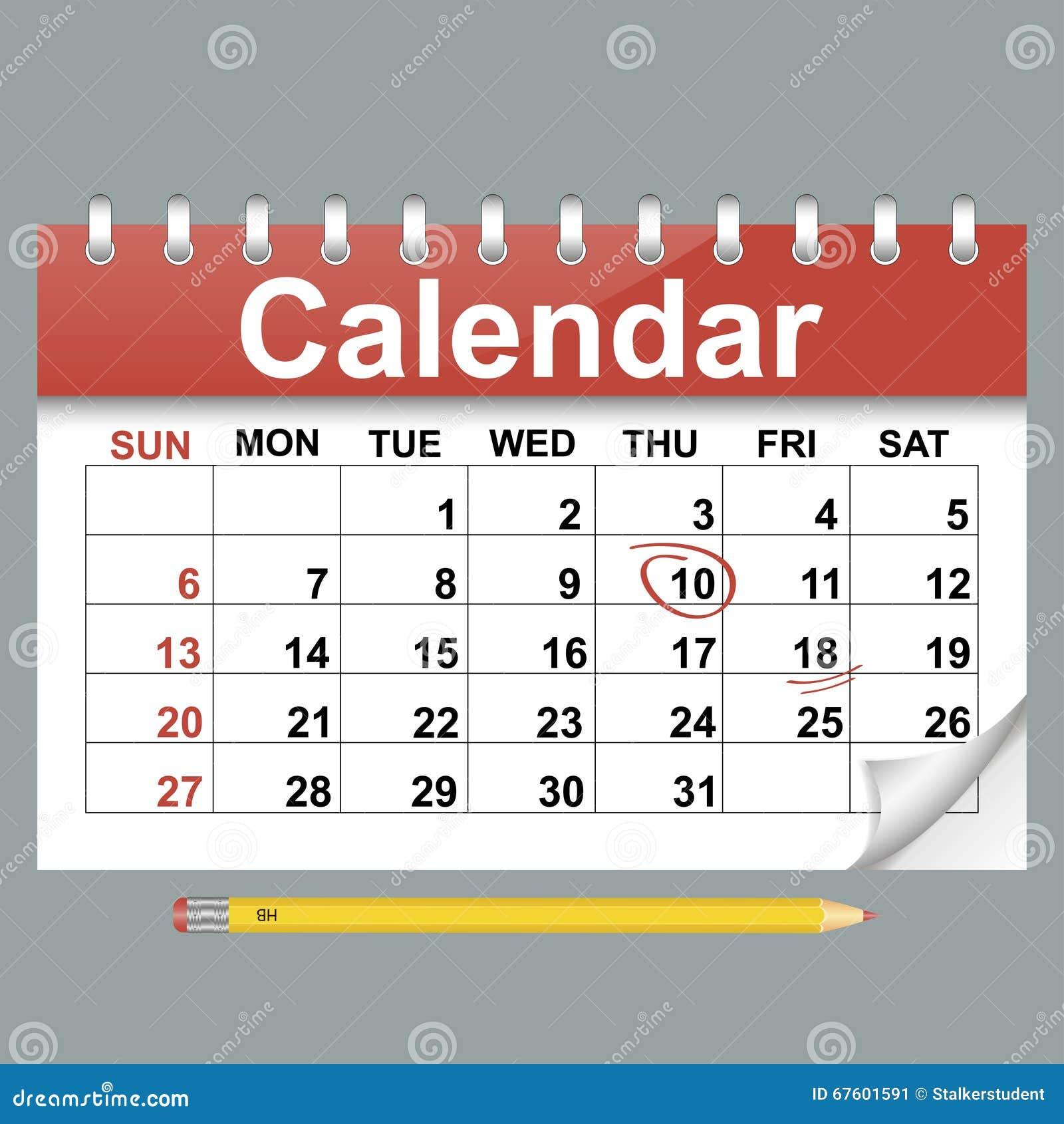 Calendar Flat Illustration : Vector illustration of calendar in flat style stock
