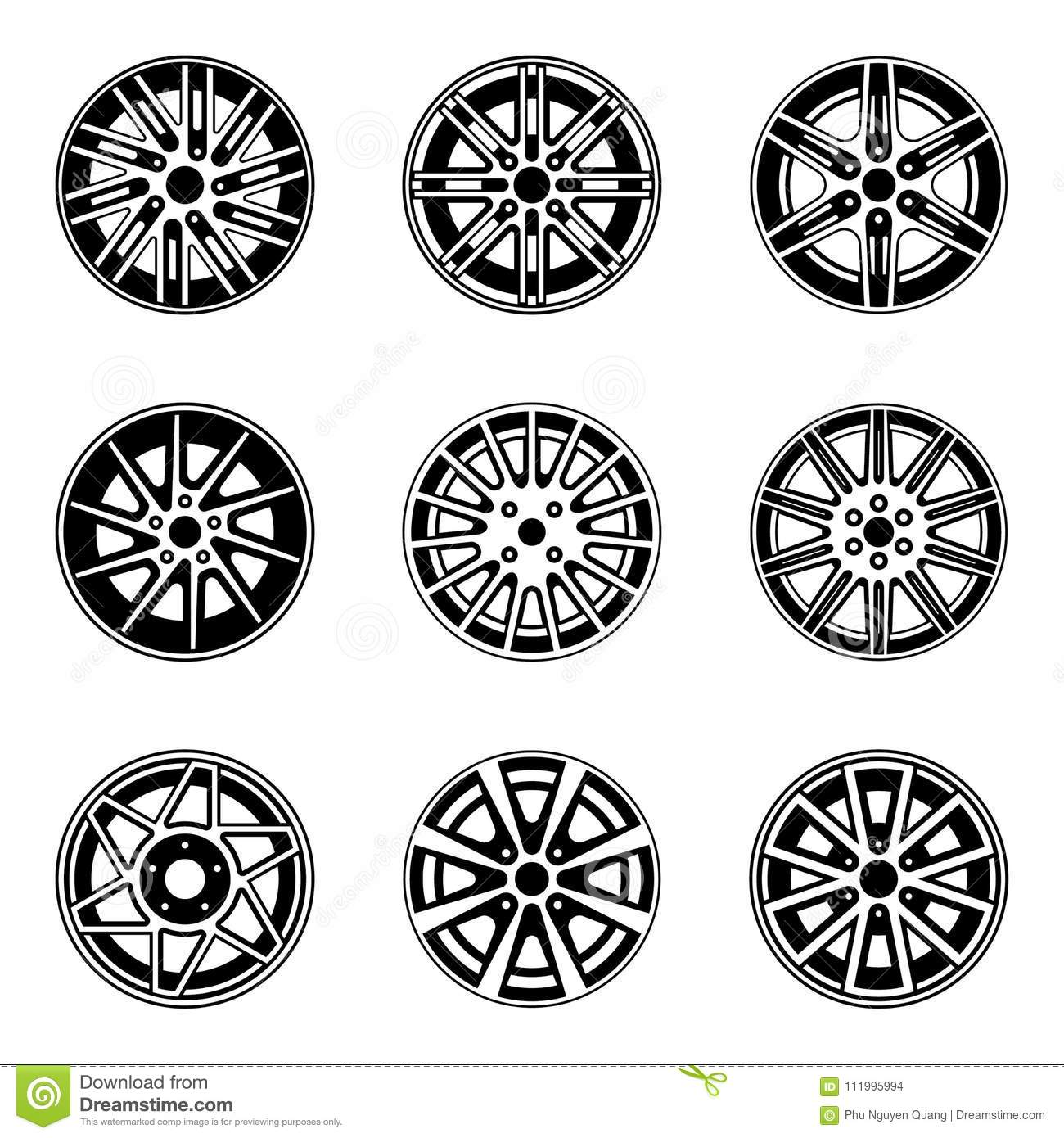 Car Wheel And Rims Icons Set Of Drawing Isolated Objects Stock Vector Illustration Of Black Rotation 111995994