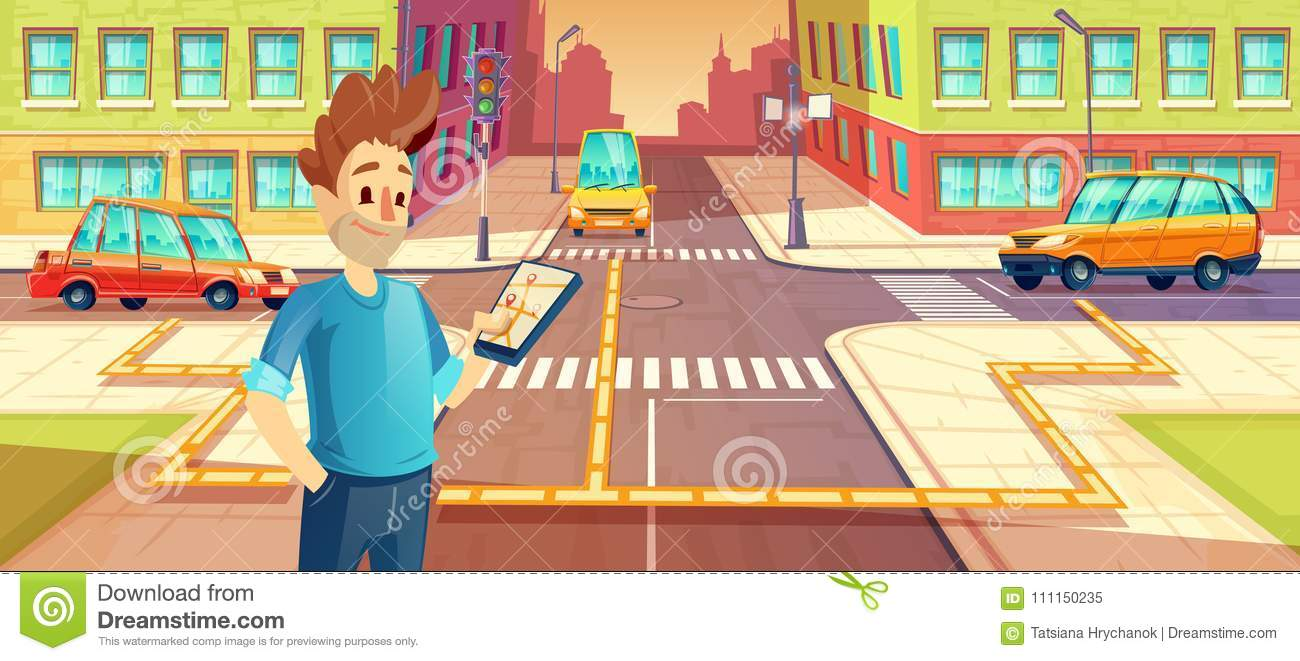 Vector illustration of car sharing, man with mobile phone with carpooling app. Vehicle rent concept for travel, trip