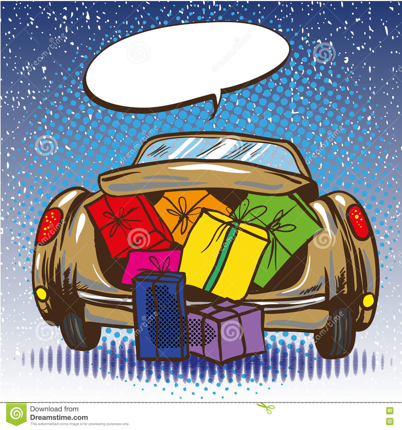 Vector Vintage Pop Art Beach Holiday Illustration Stock: Vector Illustration Of Car Trunk With Gifts, Pop Art Style