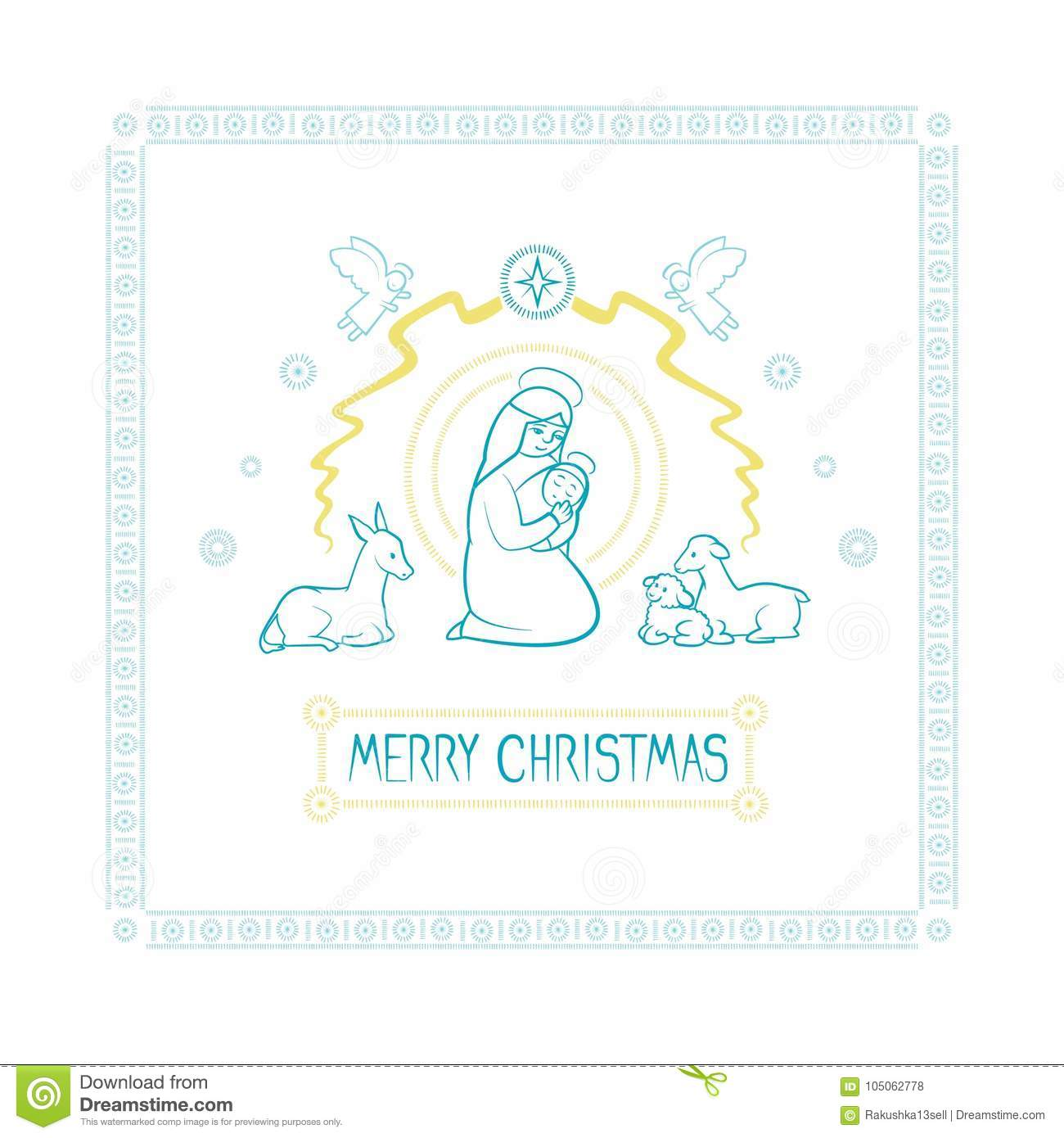 Vector Illustration Card Of The Christian Holiday Of Christmas ...