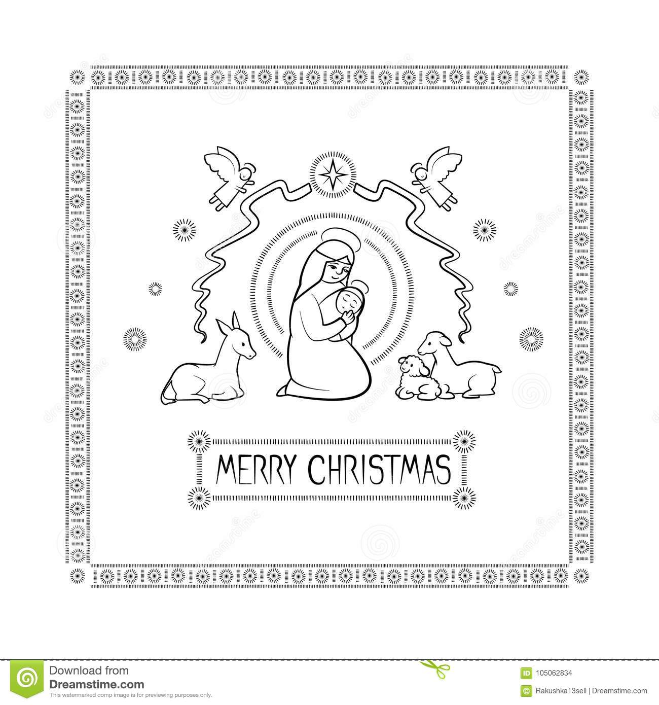Vector Illustration Card Of The Christian Holiday Of Christmas. Holy ...