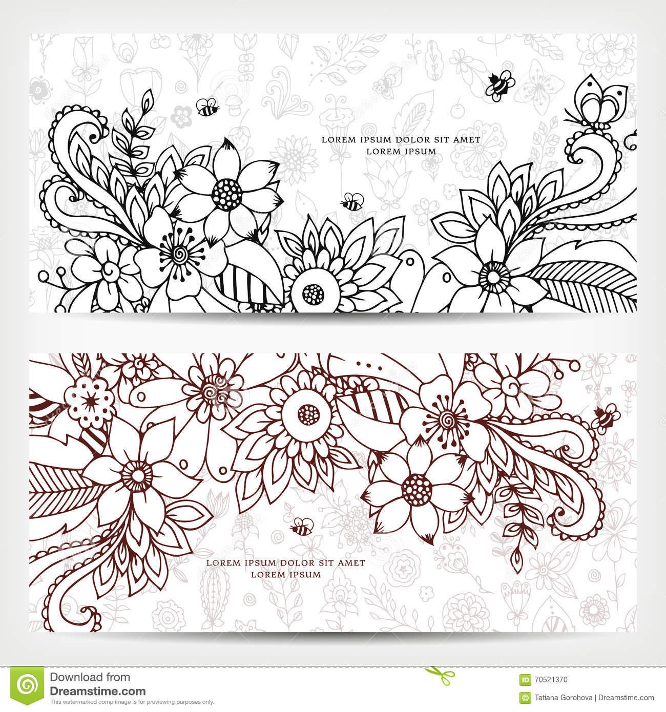 Vector Illustration Of Card With Floral Banners Zen Tangle Doodling