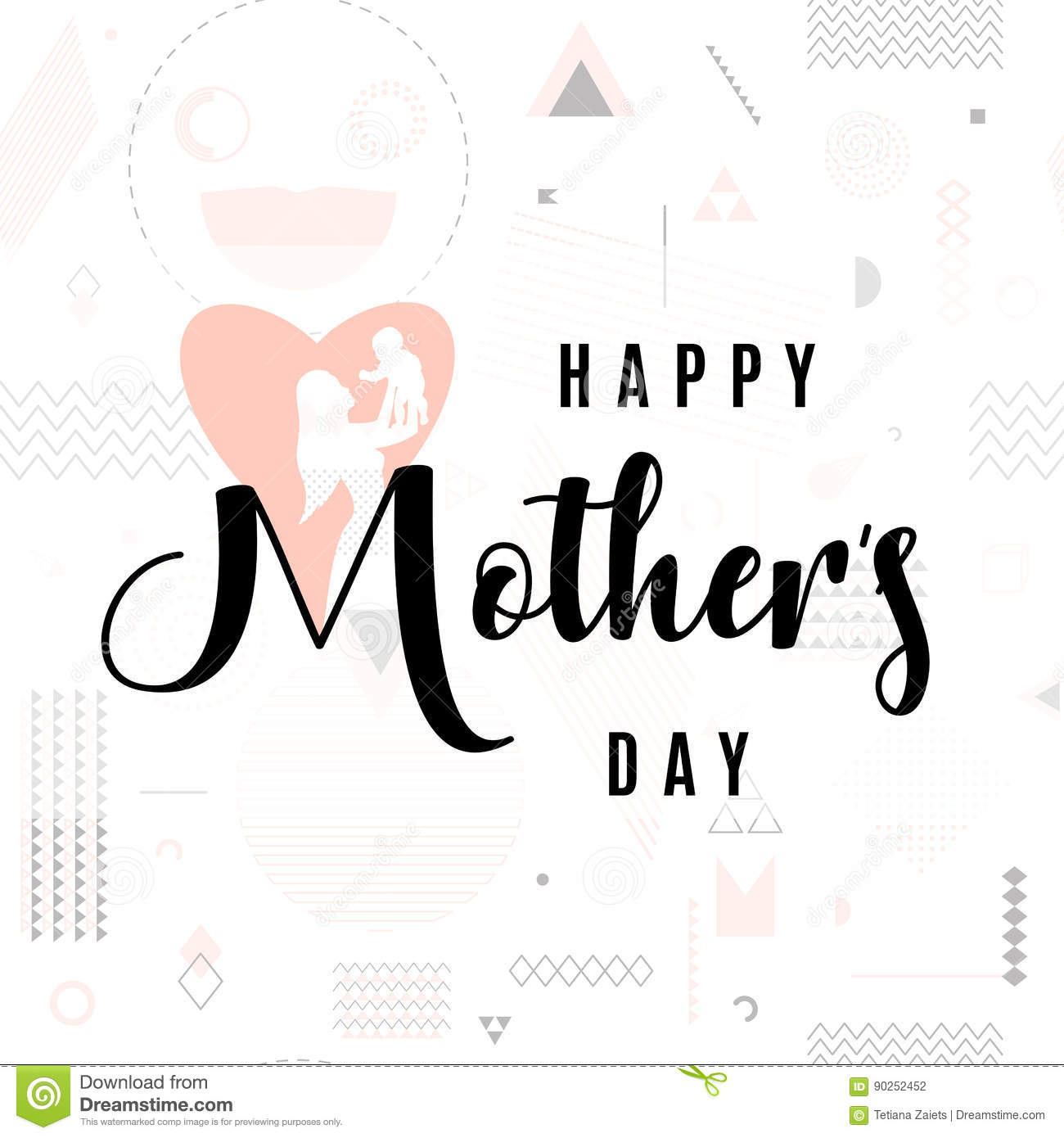 Vector Illustration Of Card For Mother Day Holiday Greeting Stock
