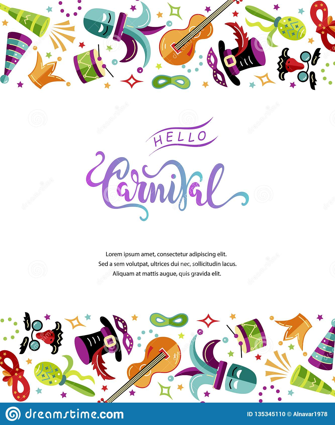 Vector illustration with carnival and celebratory objects