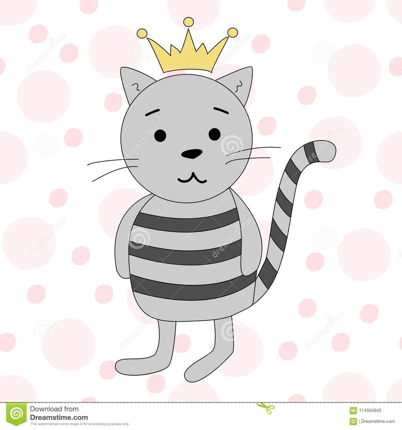 Vector Illustration Of A Cartoon Cat With Crown Cartoon Print Stock Vector Illustration Of Design Face 114504940
