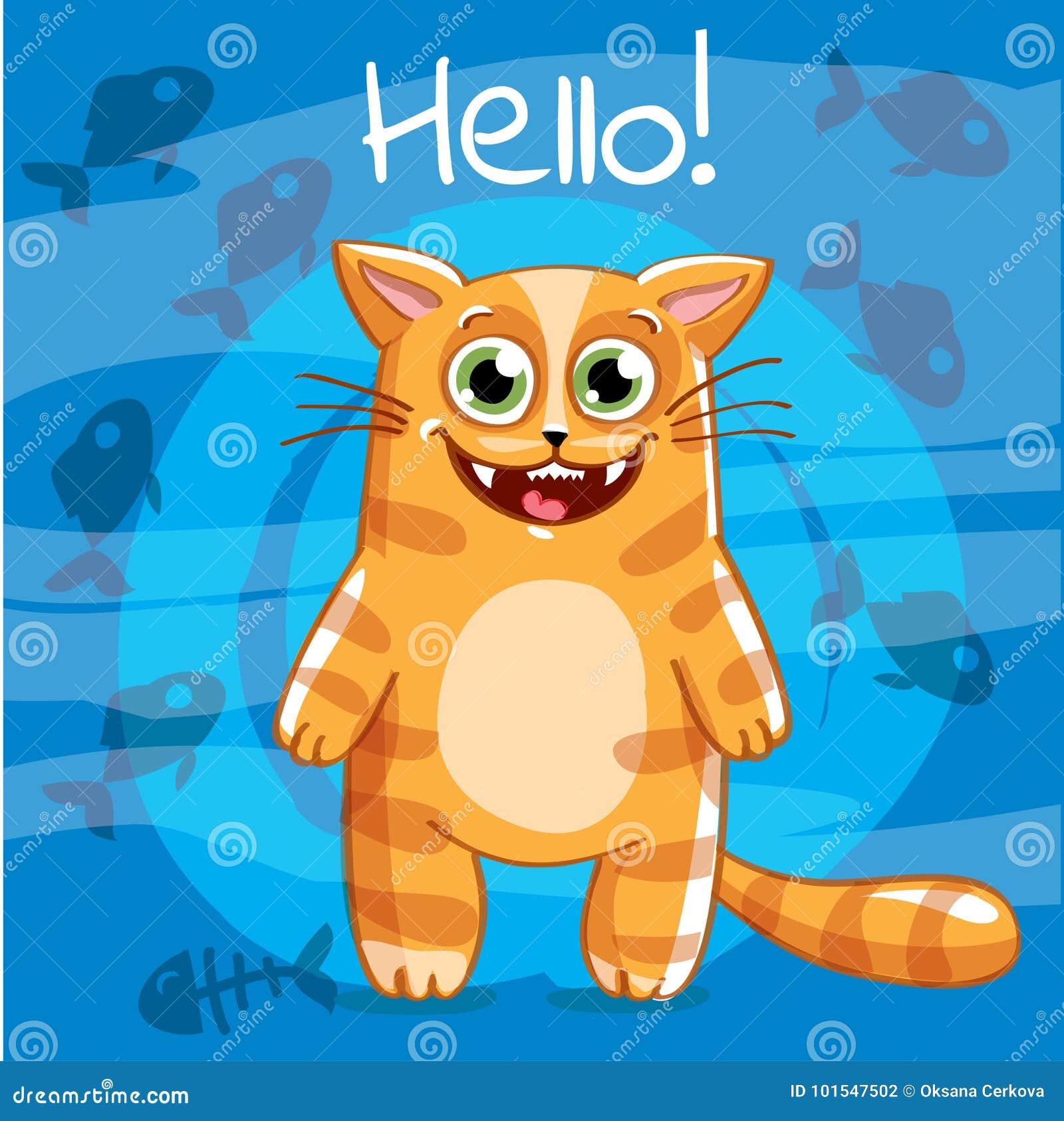 Vector Illustration Of Cartoon Cat Hello Stock Vector