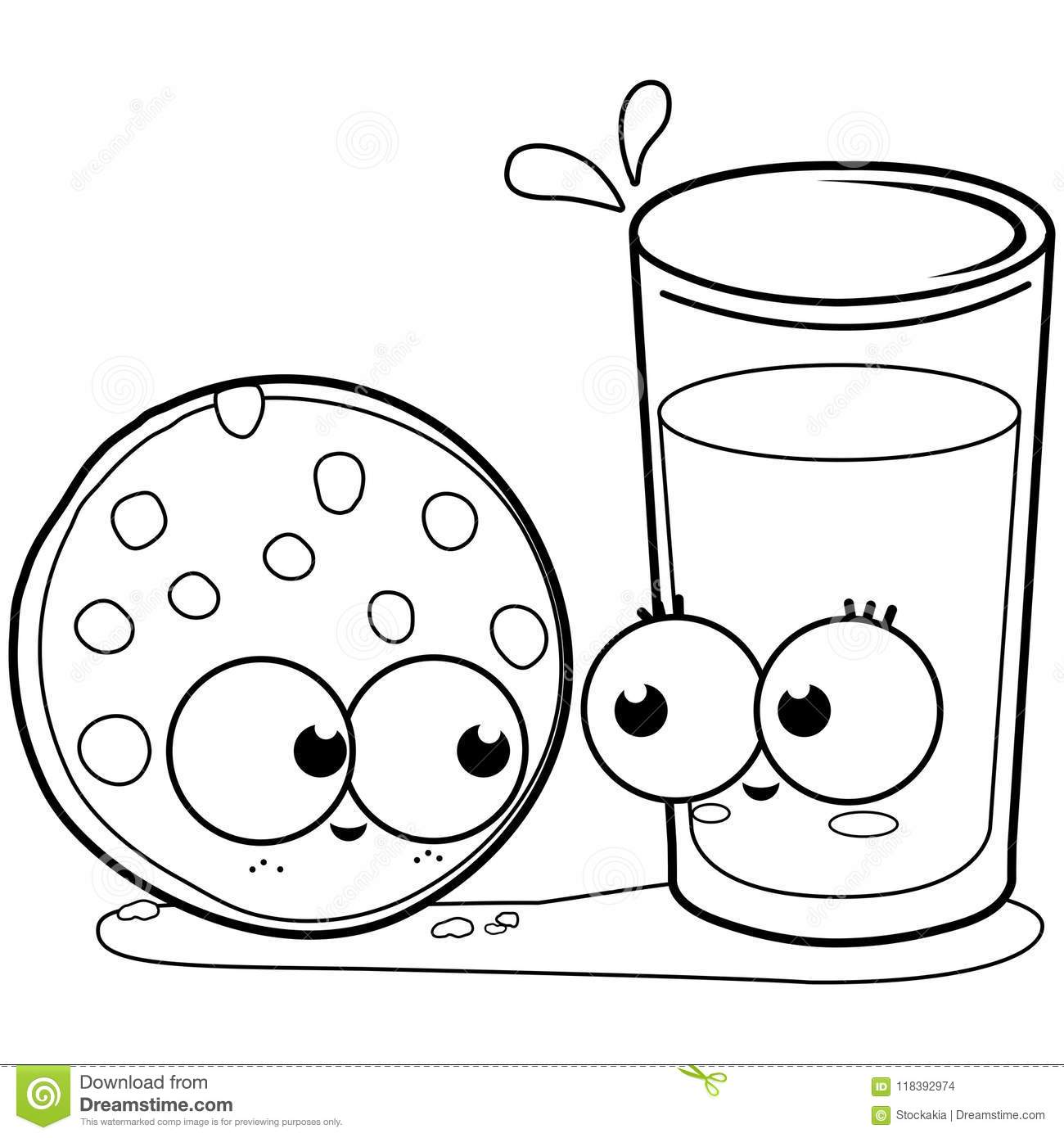Milk And Cookie. Black And White Coloring Book Page Stock ...
