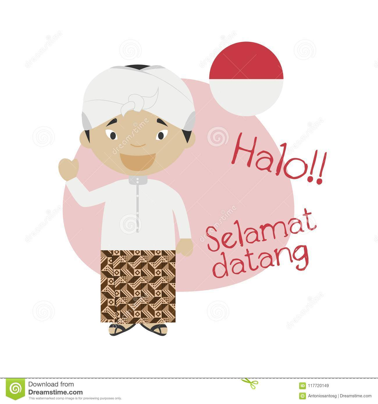 Vector illustration of cartoon character saying hello and welcome in vector illustration of cartoon character saying hello and welcome in indonesian language m4hsunfo