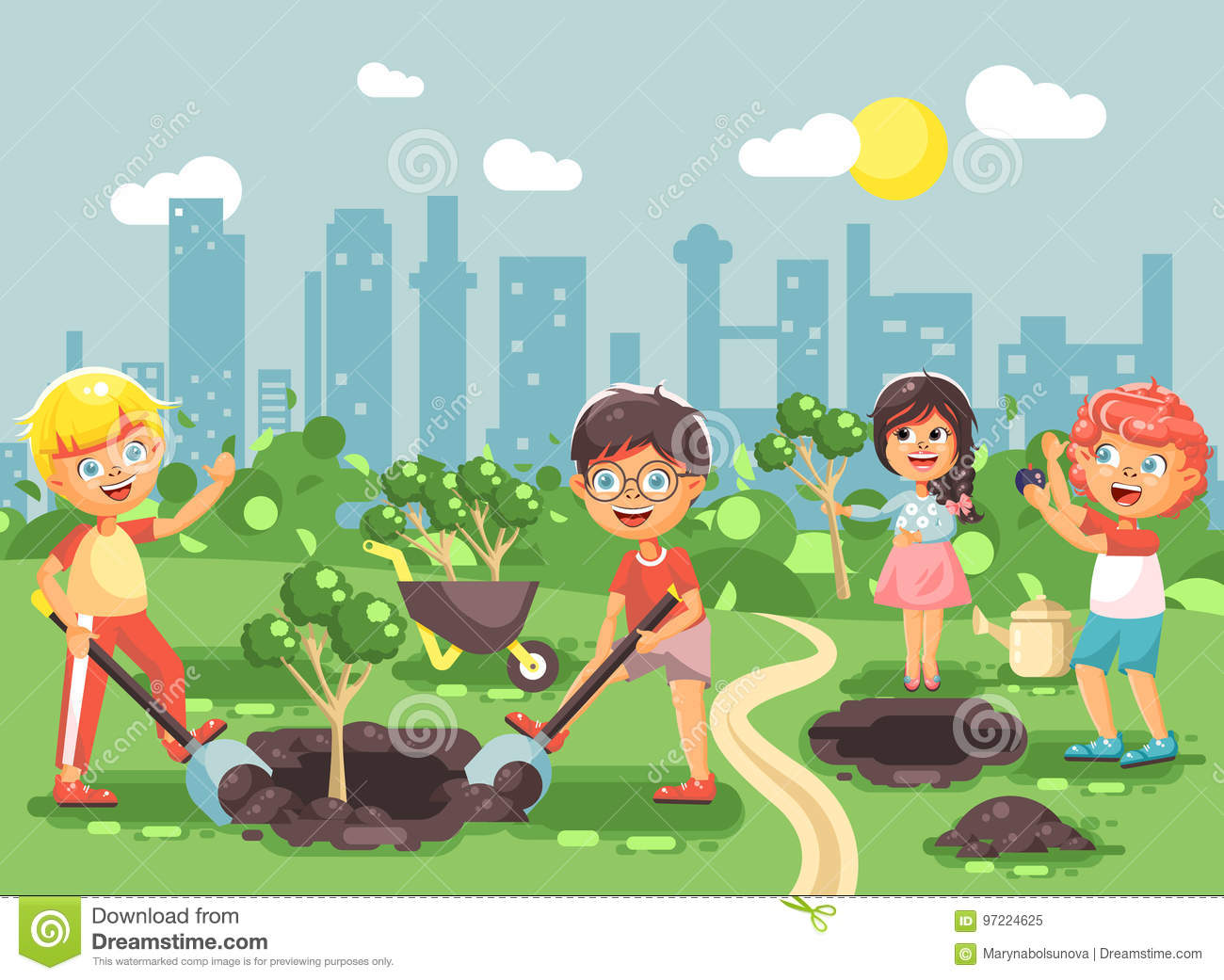 Vector illustration cartoon characters of children boy and girl planting in garden seedlings of tree, little child with