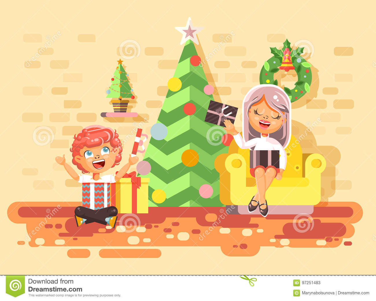 stock vector illustration cartoon characters children boys and girls in room under christmas tree happy new year and christmas give gifts