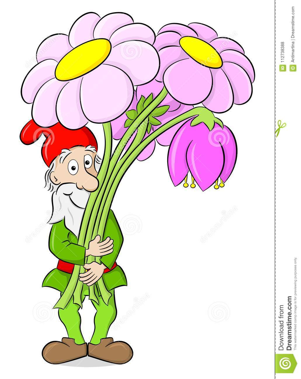 Cartoon garden gnome with a bouquet of flowers stock vector cartoon garden gnome with a bouquet of flowers izmirmasajfo Choice Image