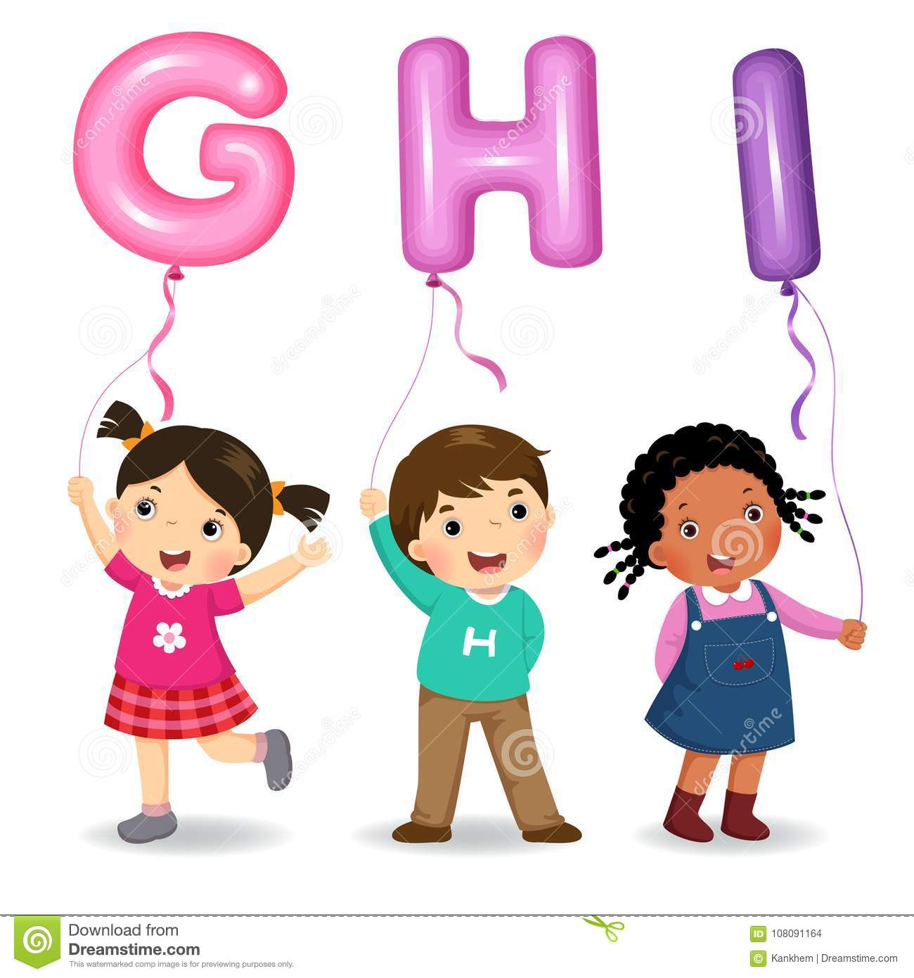 Cartoon kids holding letter GHI shaped balloons