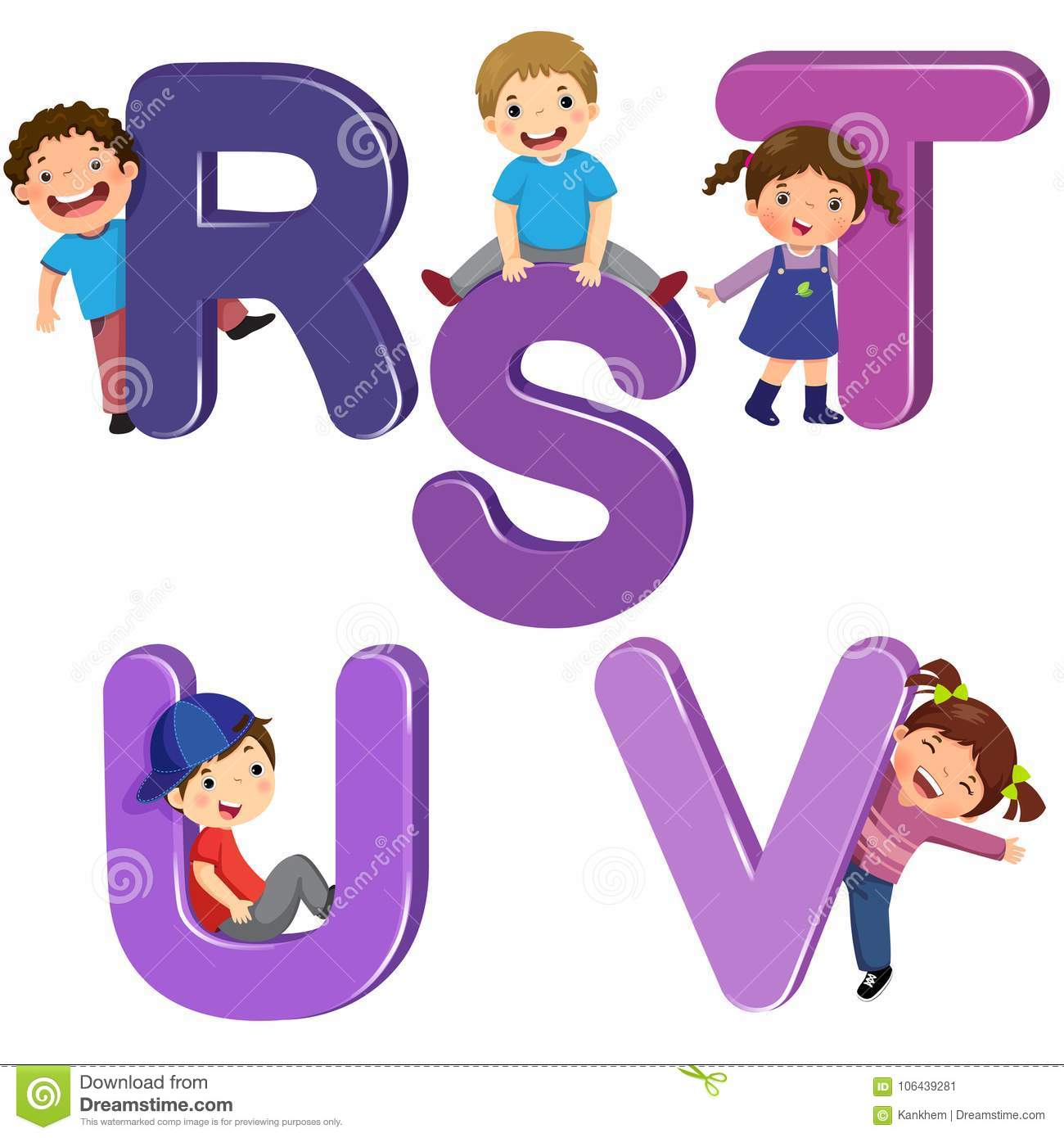 Cartoon kids with RSTUV letters