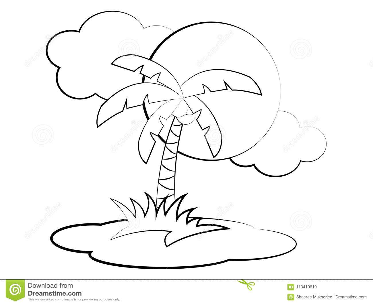 Vector Cartoon Palm Tree Coloring Page Stock