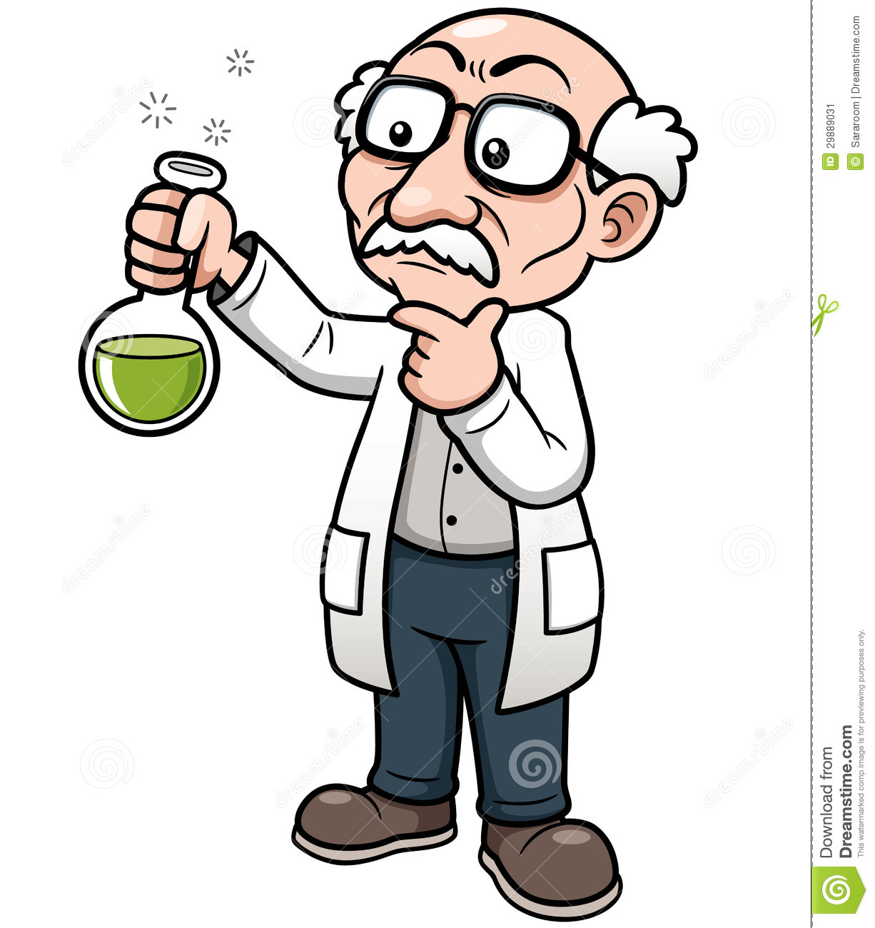 Vector illustration of cartoon scientist