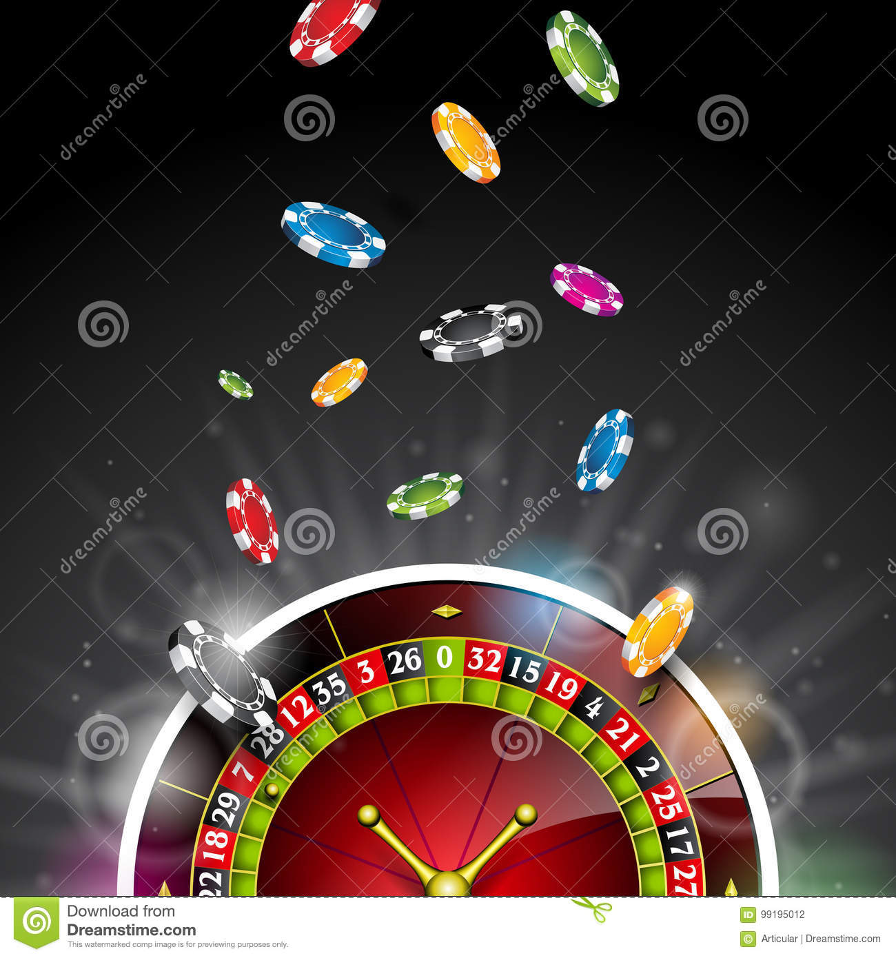 Vector illustration on a casino theme with color playing chips and roulette wheel on black background. Gambling design elements.