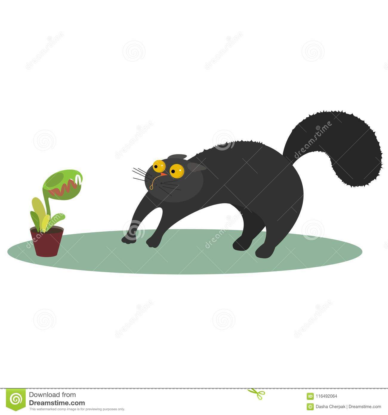 Vector illustration cat and flycatcher