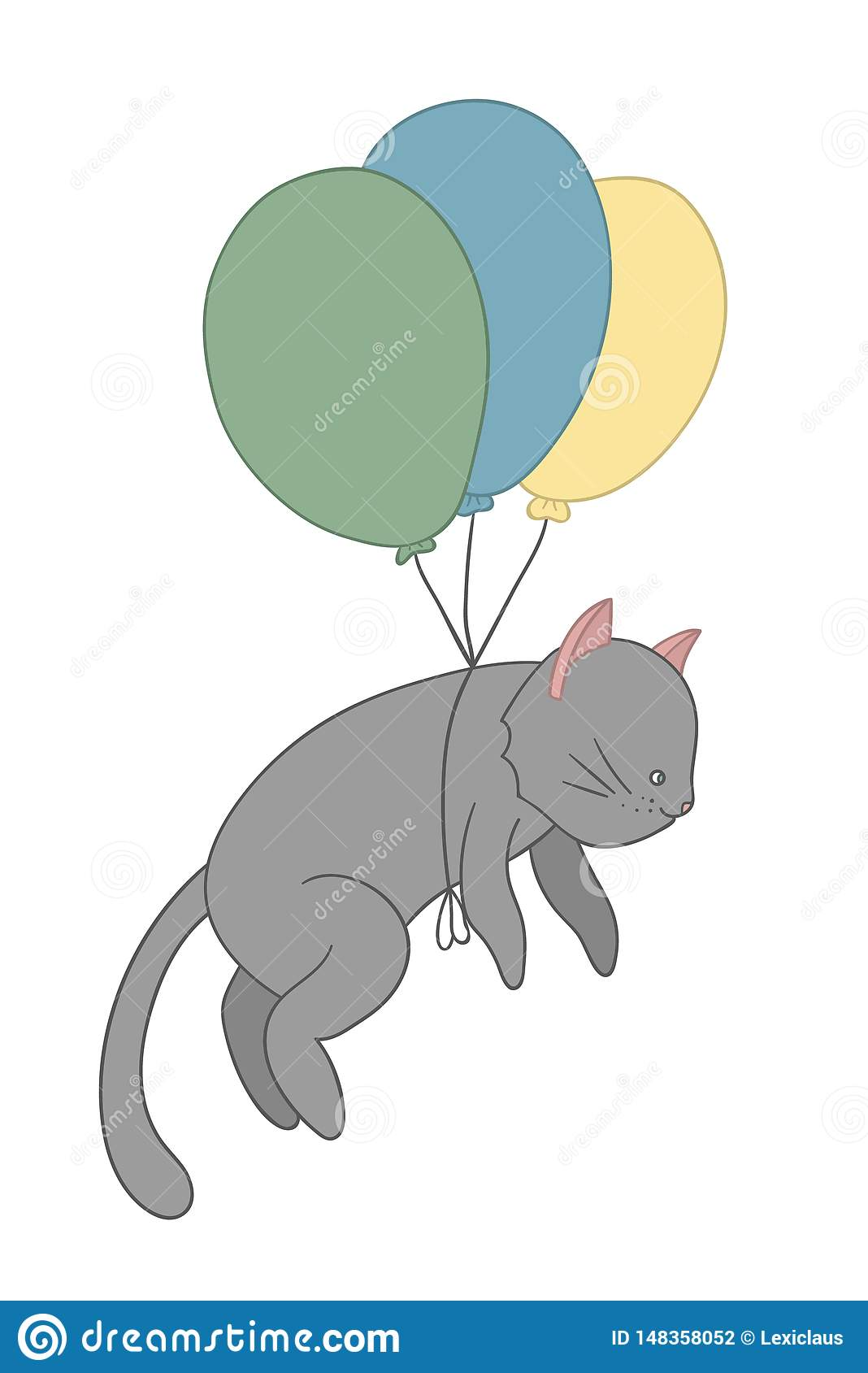 Vector illustration of a cat flying on colored balloons