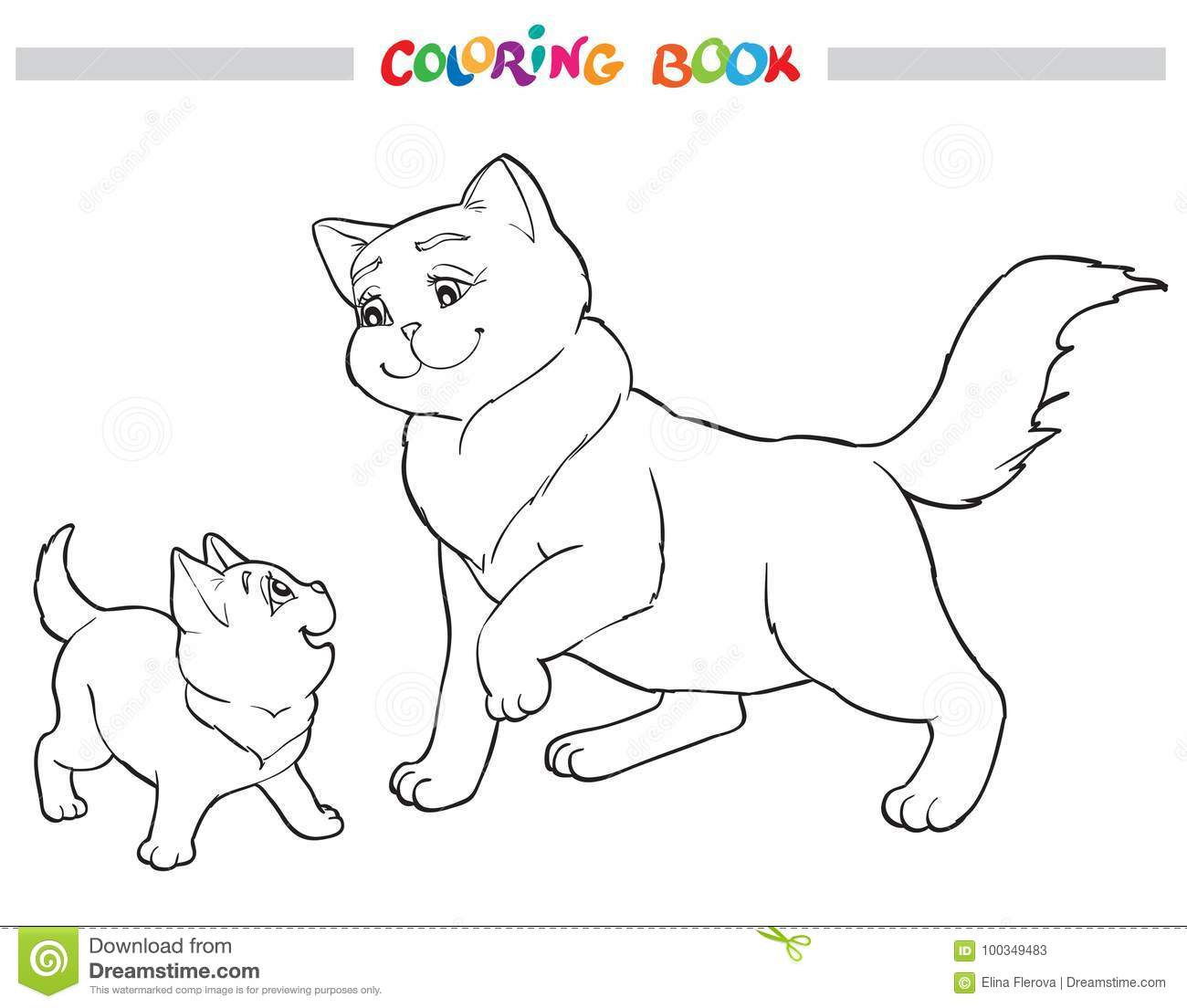 Download Vector Illustration Cat Mother With Kitten Coloring Book Stock