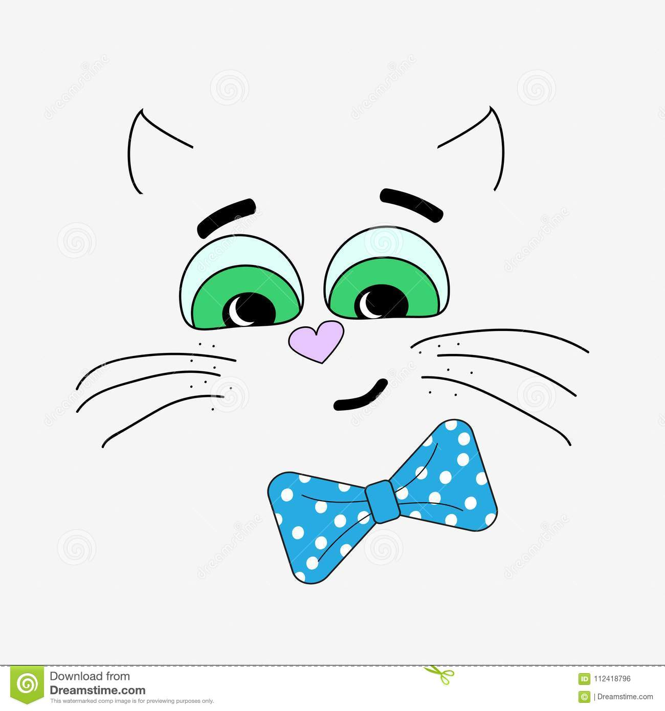 Vector Illustration With A Cat On A White Background The Template