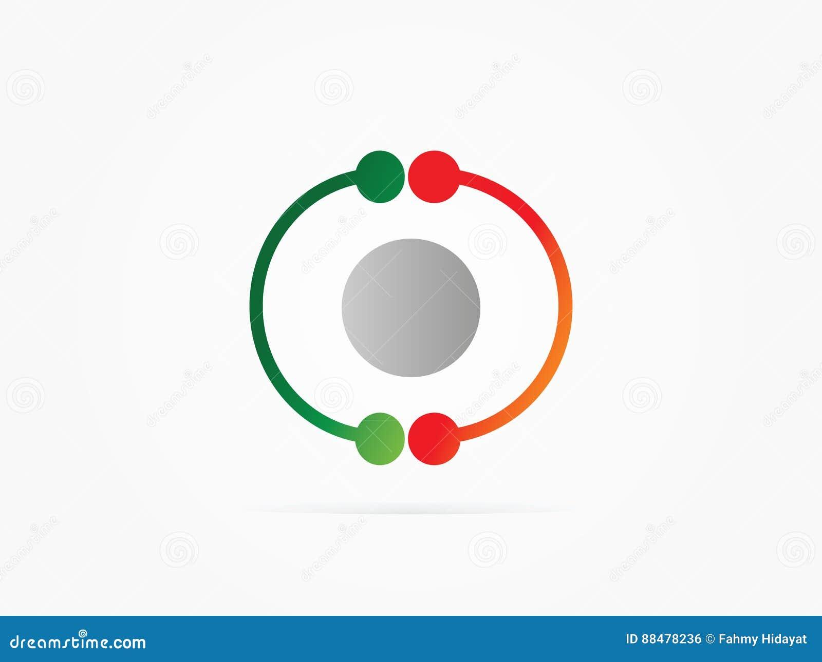 vector illustration cc circle logo with atom logo stock