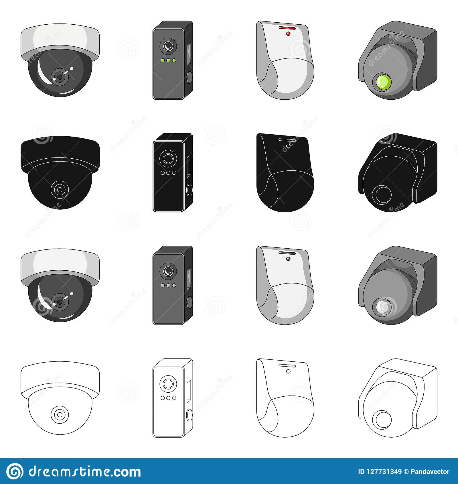 Vector Design Of Cctv And Camera Sign Set Of Cctv And System Stock