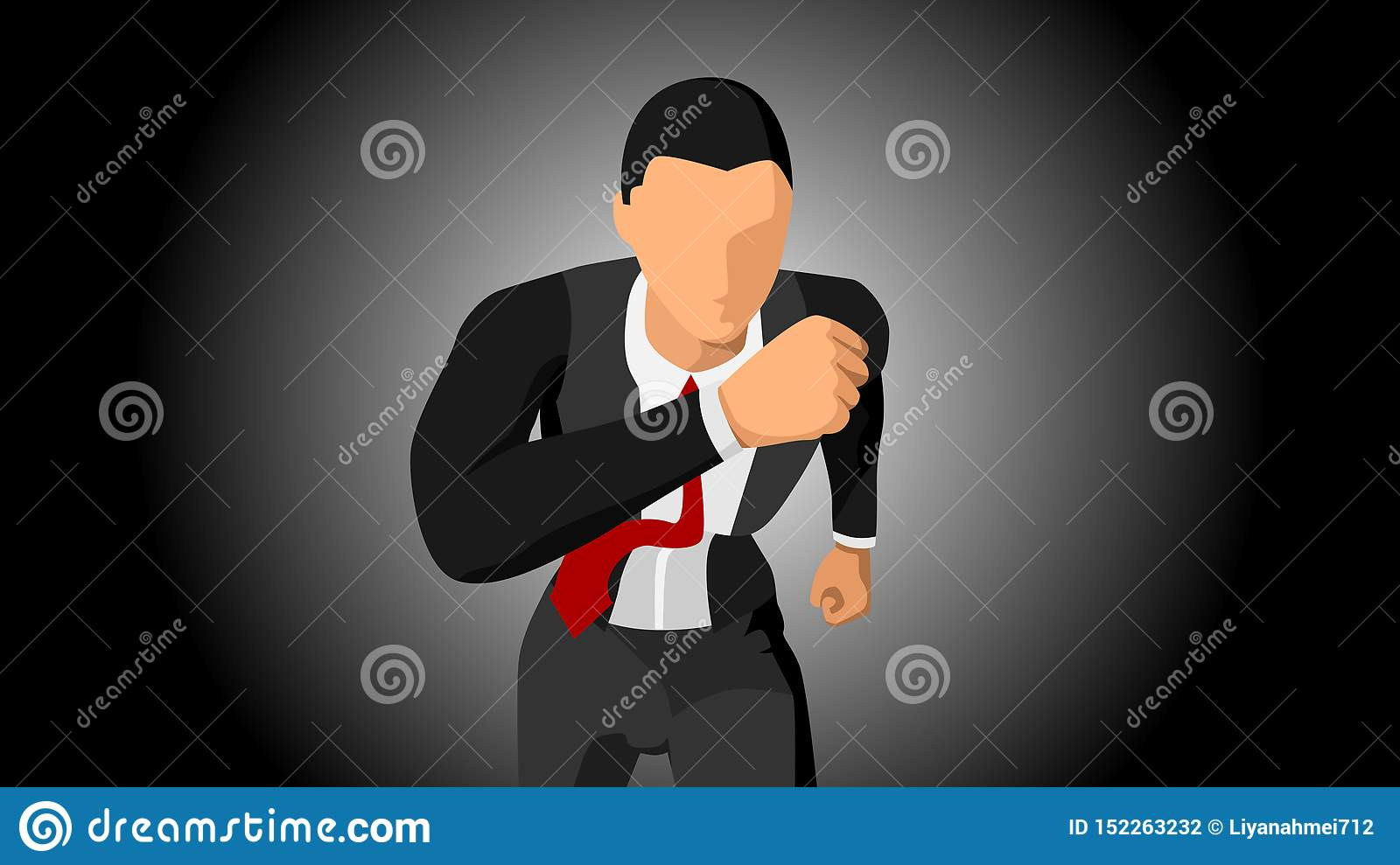 Vector illustration of the character of a businessman running, facing the front. with a dark background. file vector
