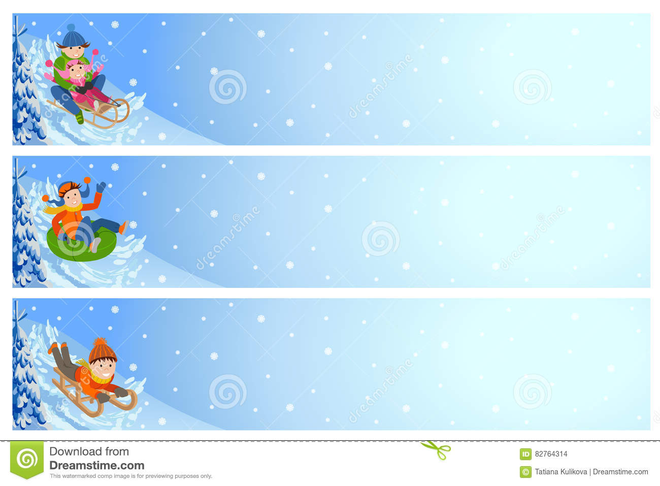vector illustration of children playing outdoor horizontal flyers vector illustration of children playing outdoor horizontal flyers kids and winter landscape