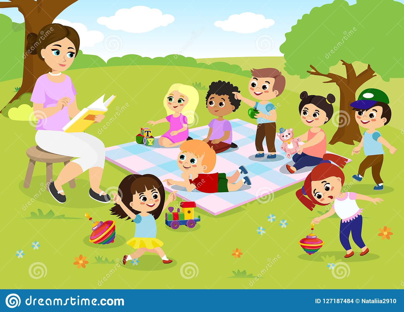 Vector Illustration Of Children S Activities At The Summer Camp
