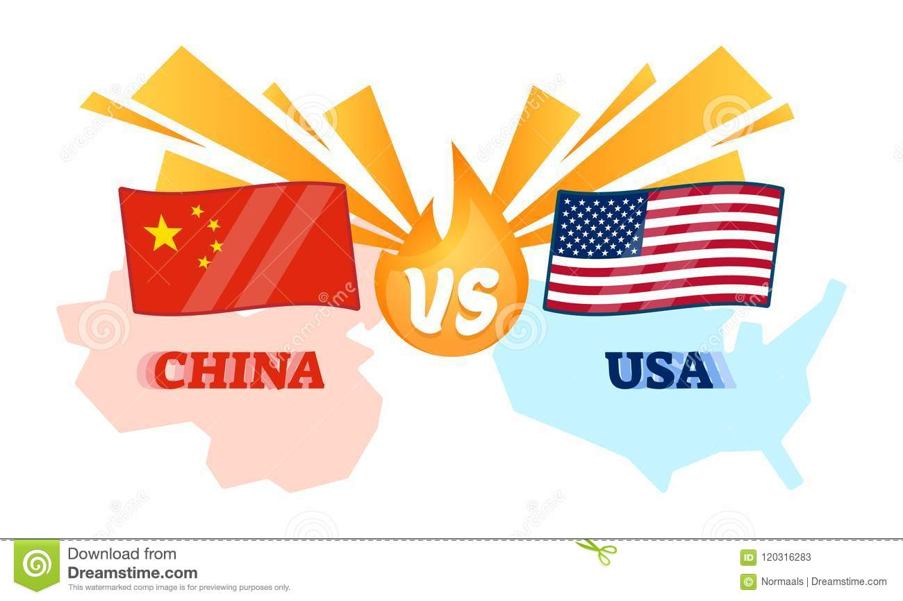Vector Illustration China And Usa Conflict Chinese Vs American
