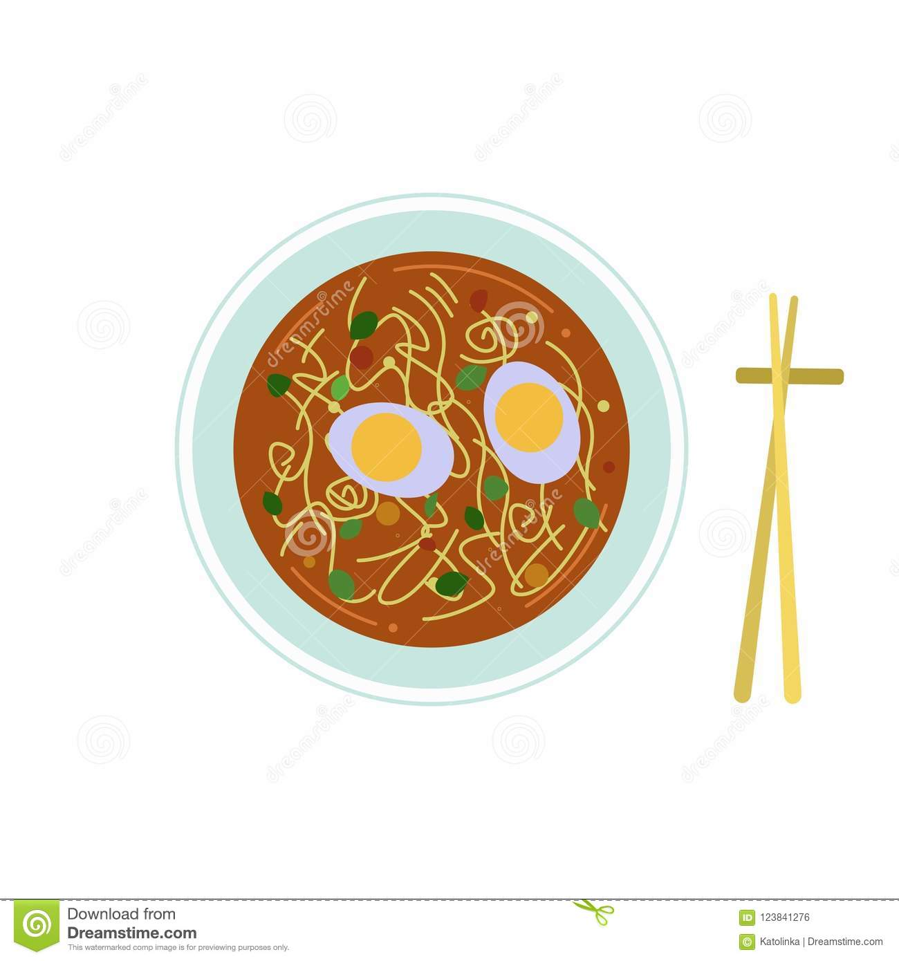 Vector Illustration Of Chinese Food A Bowl Of Soup And Wooden
