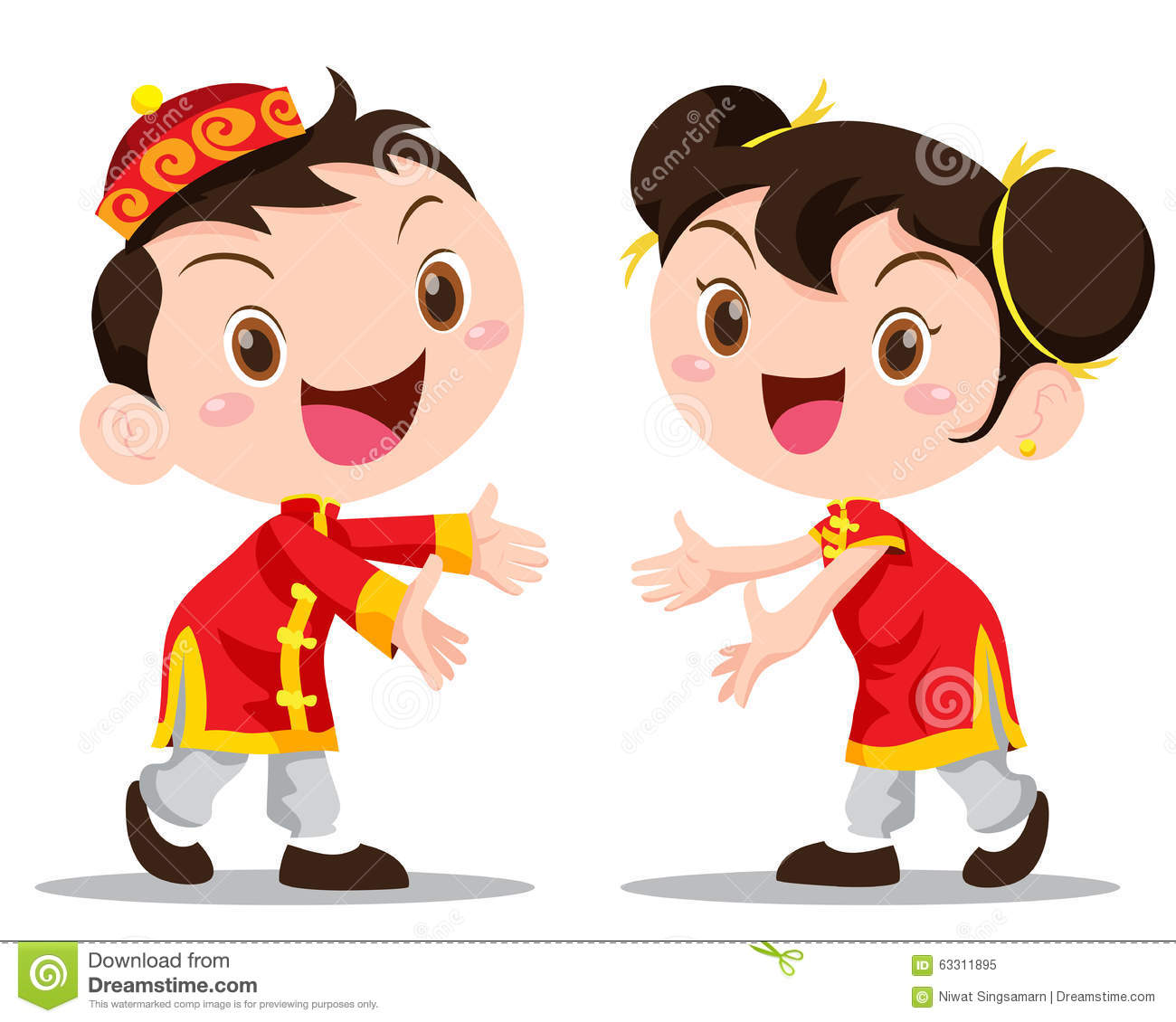 vector illustration chinese kids stock vector image