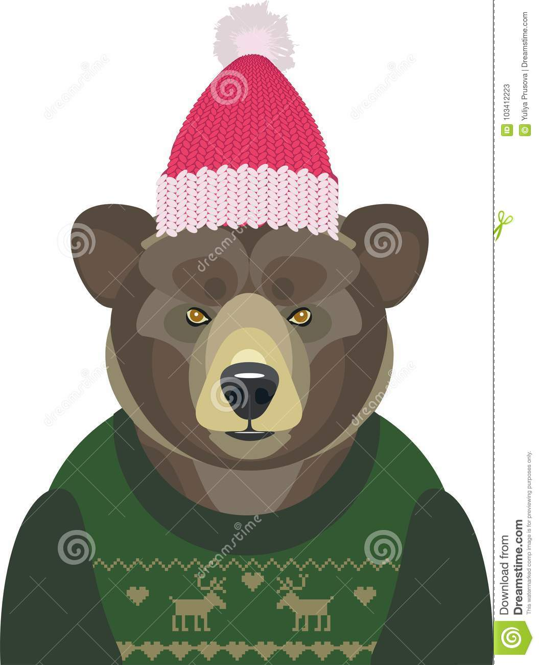 952b8af97 Vector illustration of Christmas bear in sweater and hat on white  background.