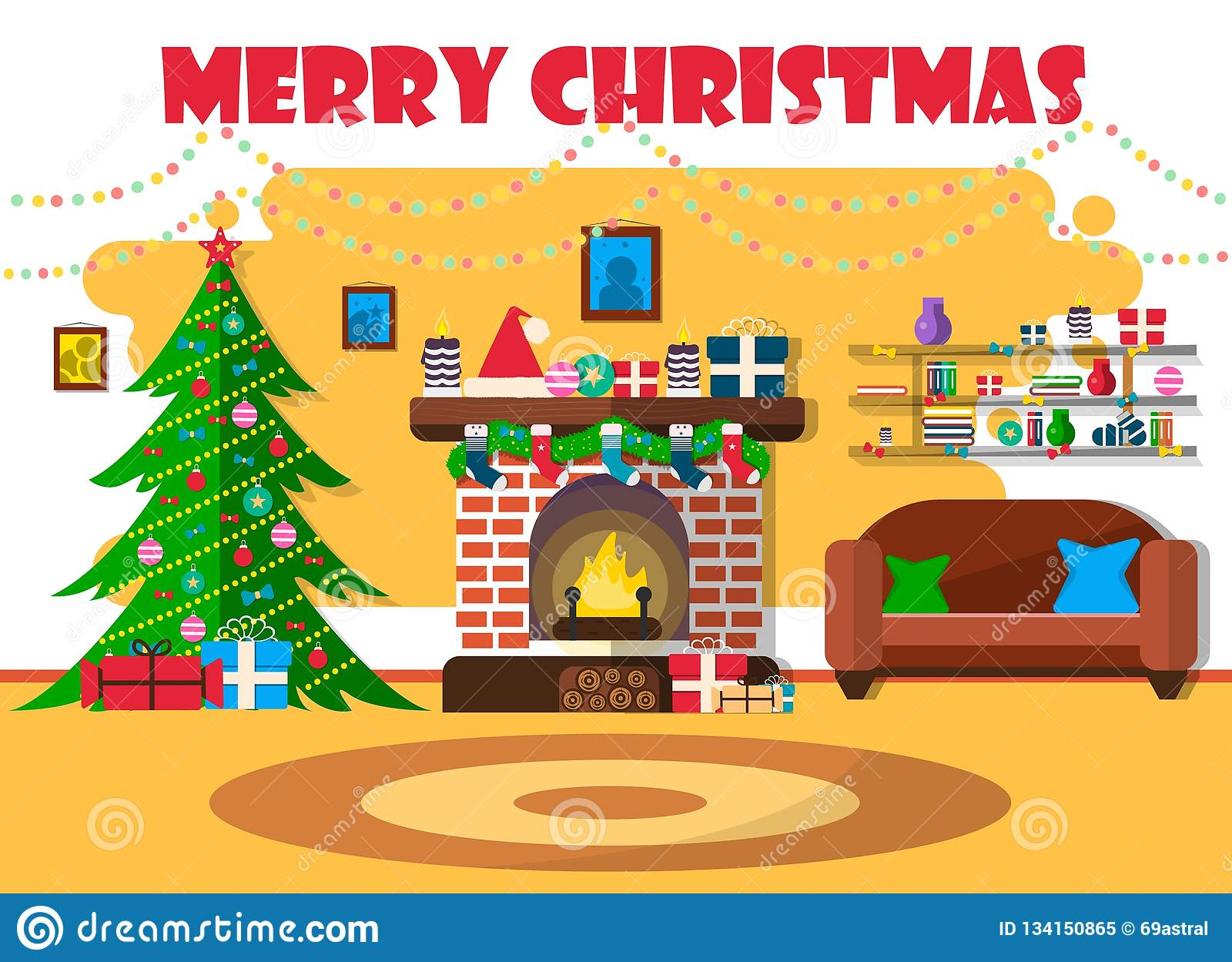 Vector illustration for Christmas with Christmas tree and retro furniture. Flat design with spruce and fireplace.