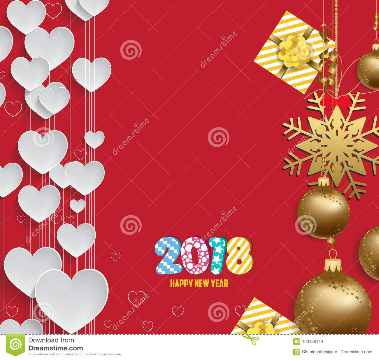 Vector illustration of christmas 2018 heart background with christmas balls gold
