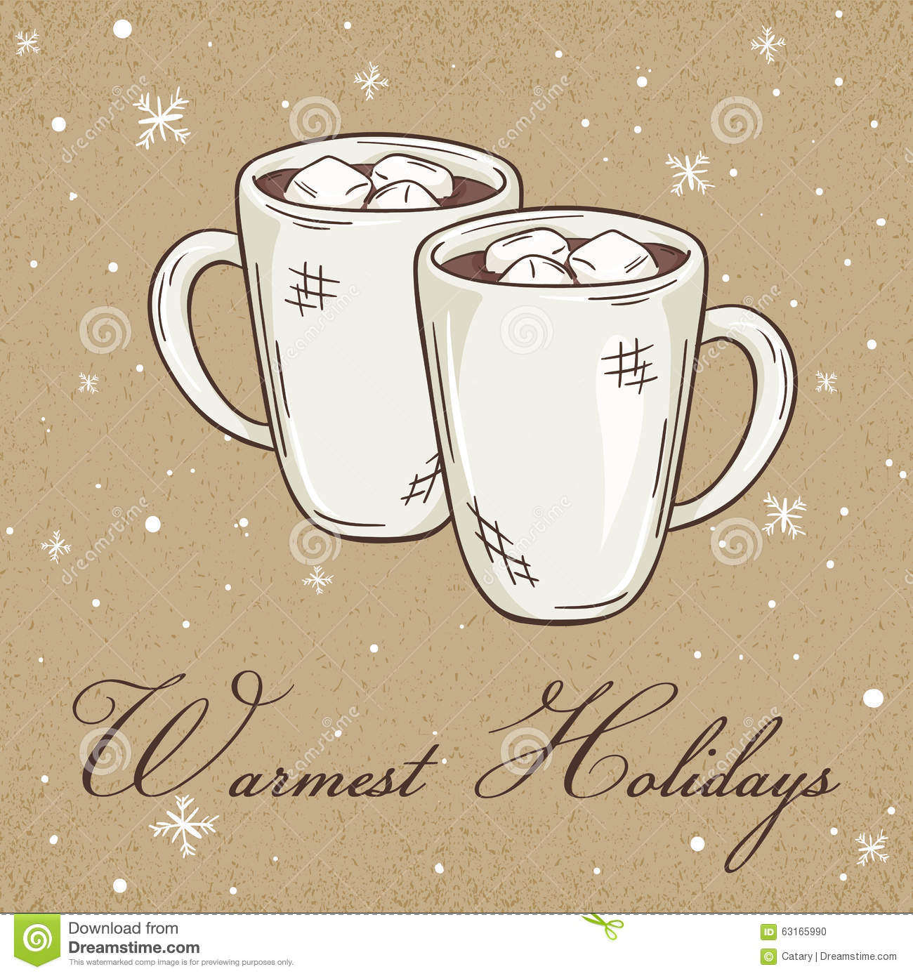 Vector Illustration Of Christmas Kraft Paper Card With Hot Chocolate