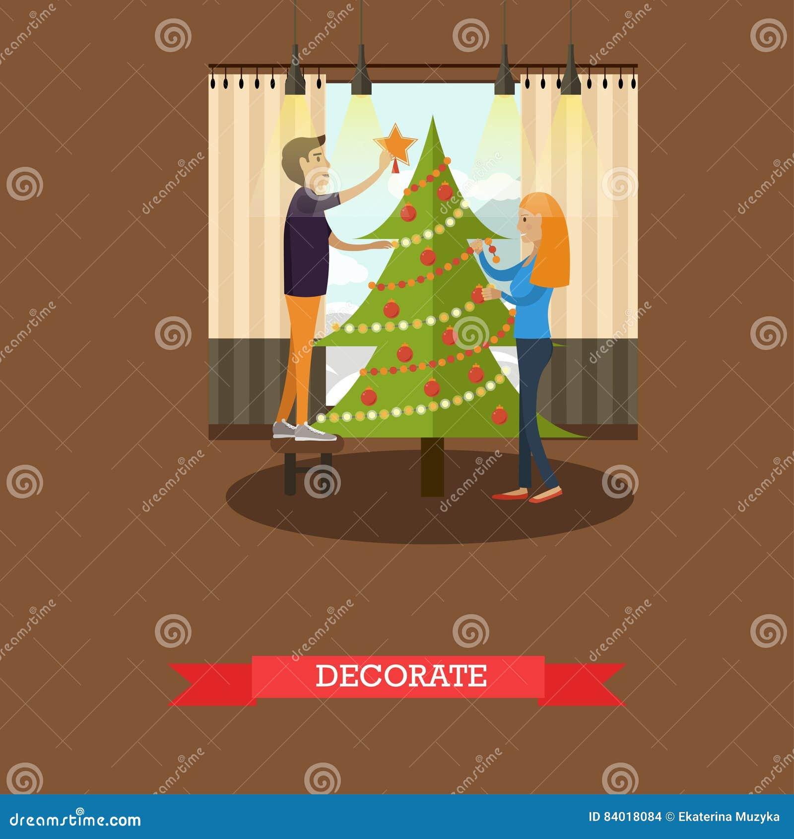 Christmas Tree Decoration Elements: Vector Illustration Of Christmas Tree Decoration Design