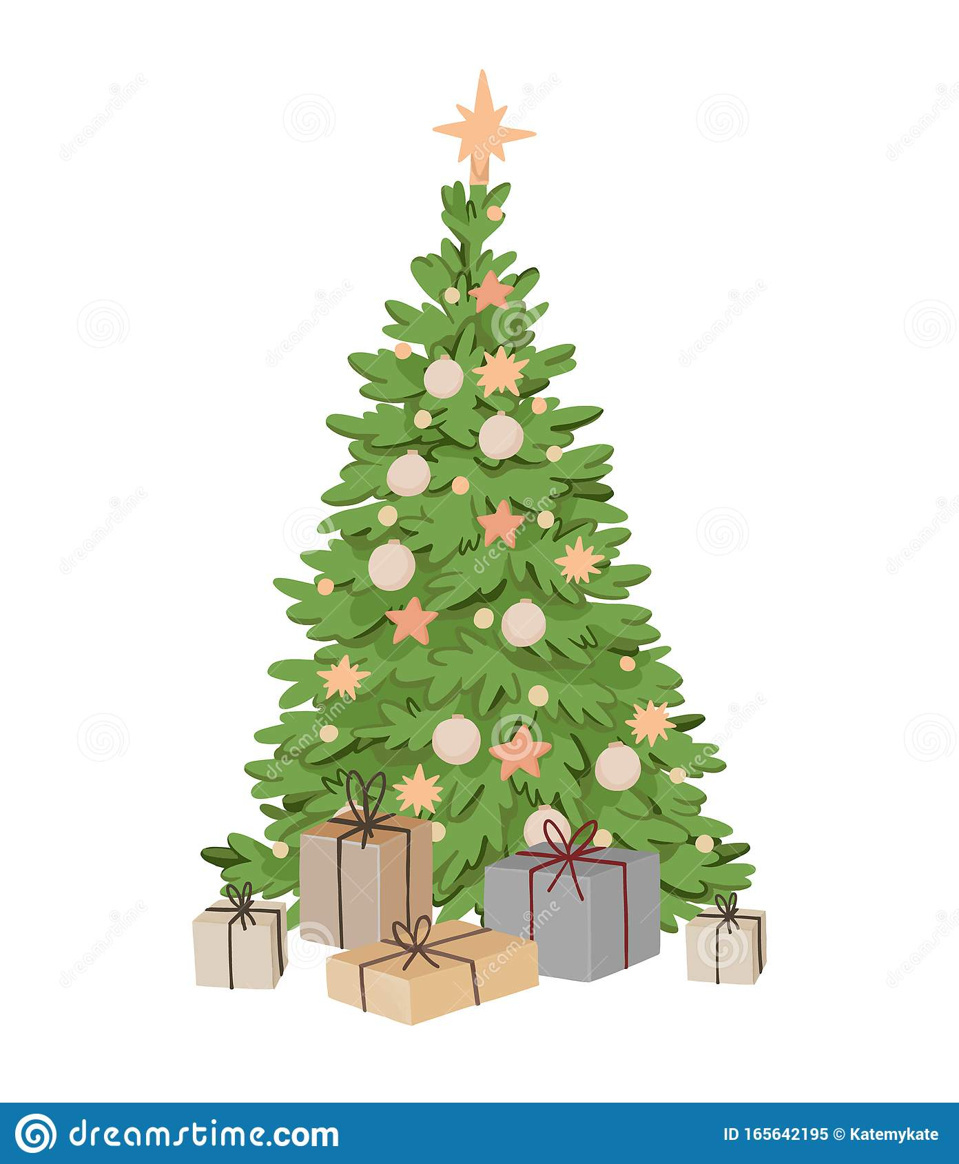 Vector Illustration With Christmas Tree, Decorations ...