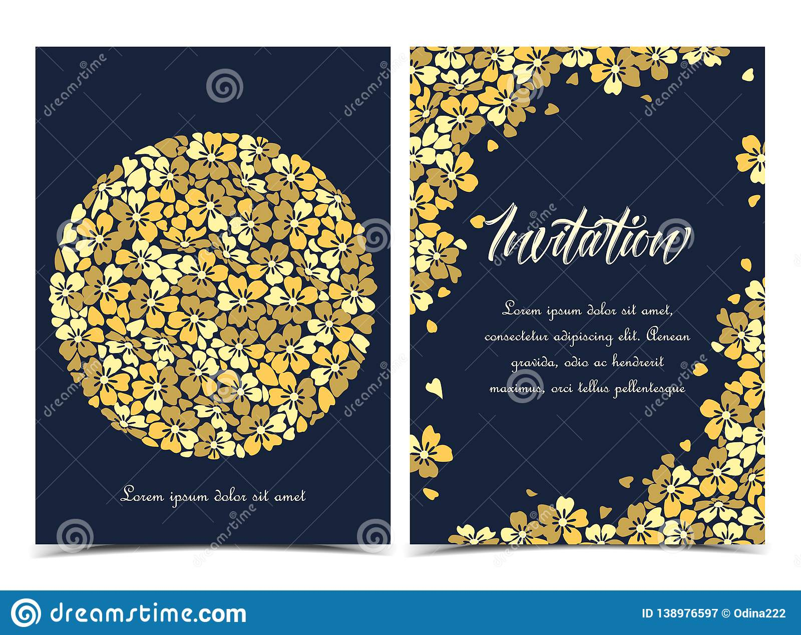 Summer floral decorations. Vector illustration of a circle-shaped flower. Floral background. Set of greeting cards stock illustration