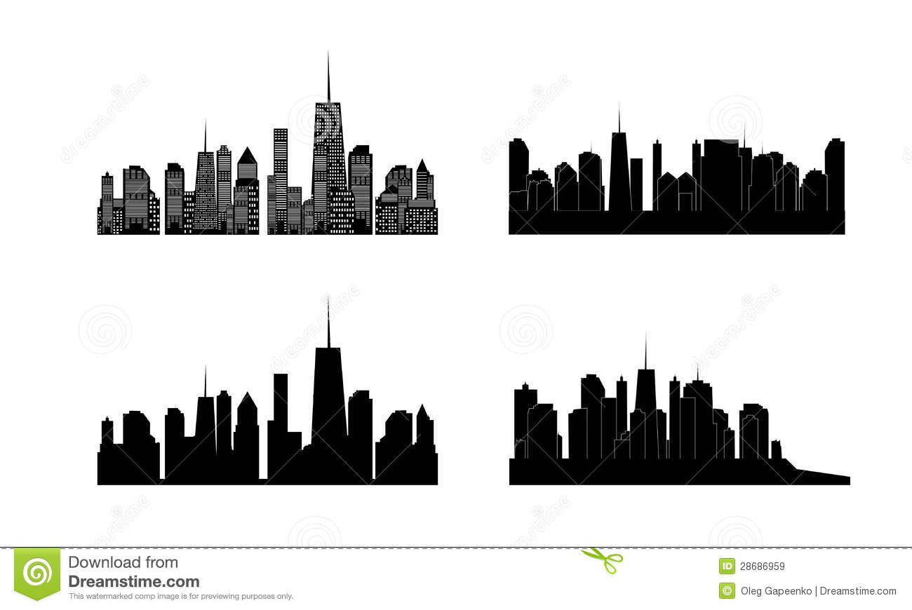 Cityscape Wall Stickers Vector Illustration Of Cities Silhouette Set Eps Royalty
