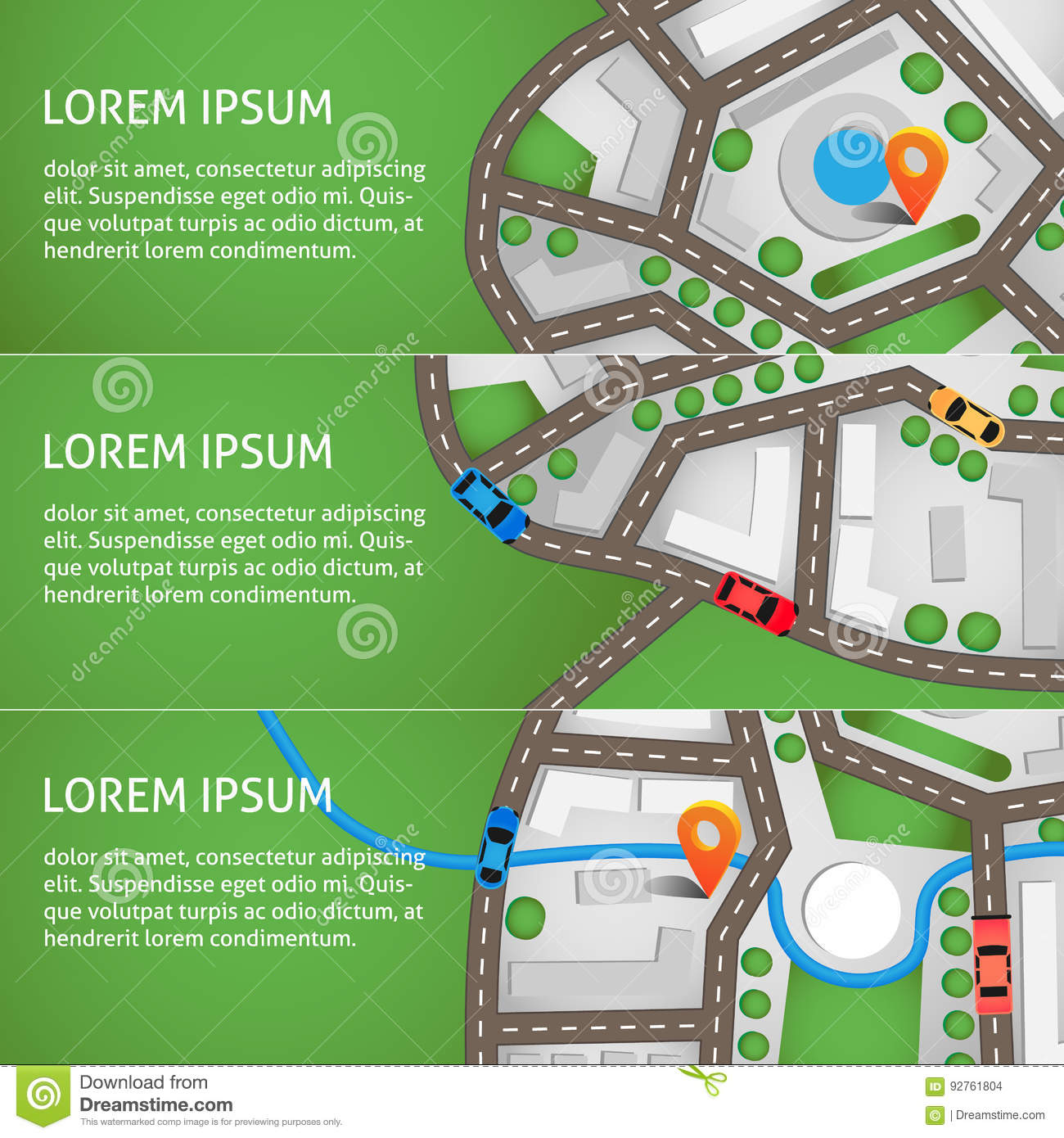 Vector Illustration  City Map Top View With Roads, Colourful Cars