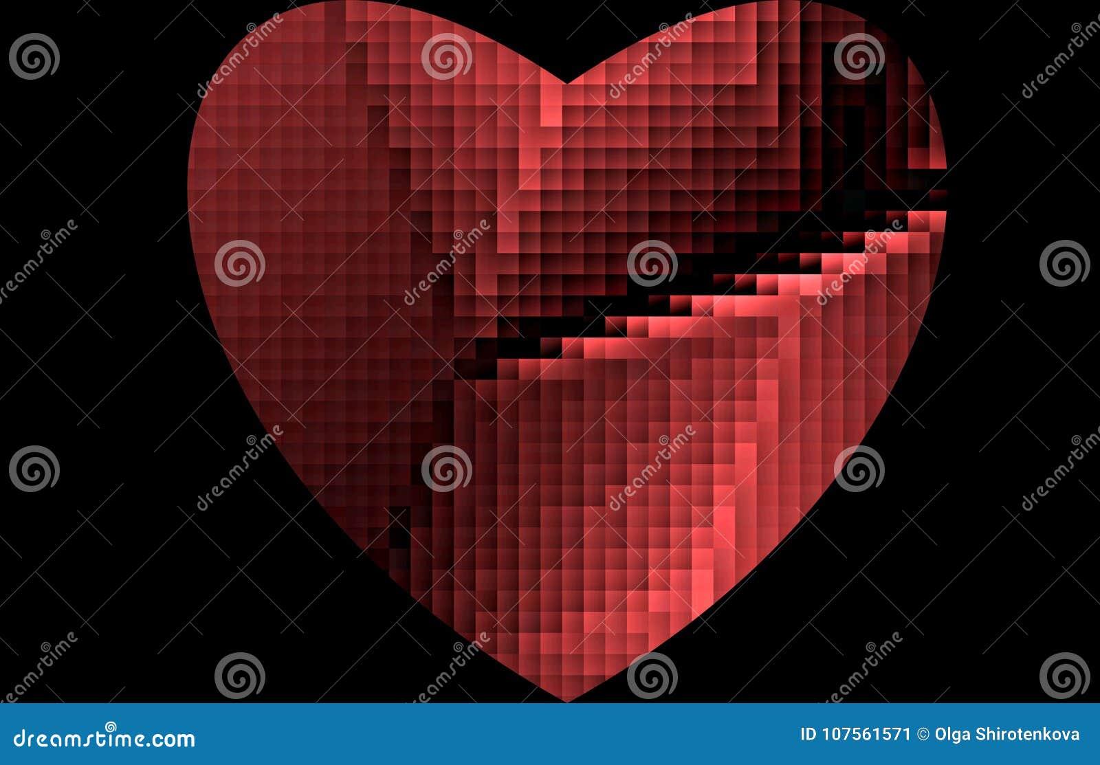 Broken Pixels: Chopped, Broken Pixel Red Heart On A Black Background. For