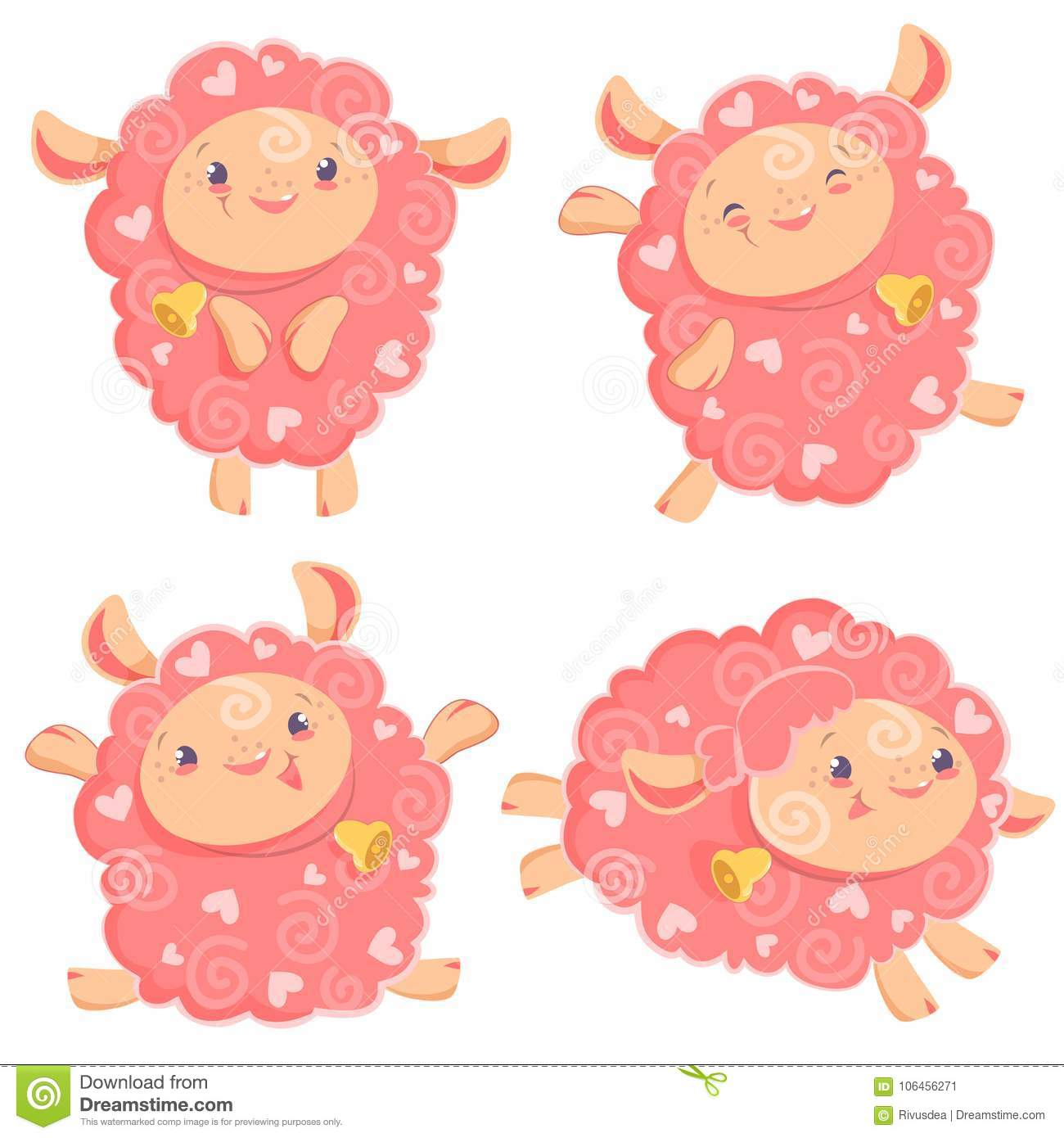 Vector Illustration Clipart Set Of Cute Funny Pink Girl