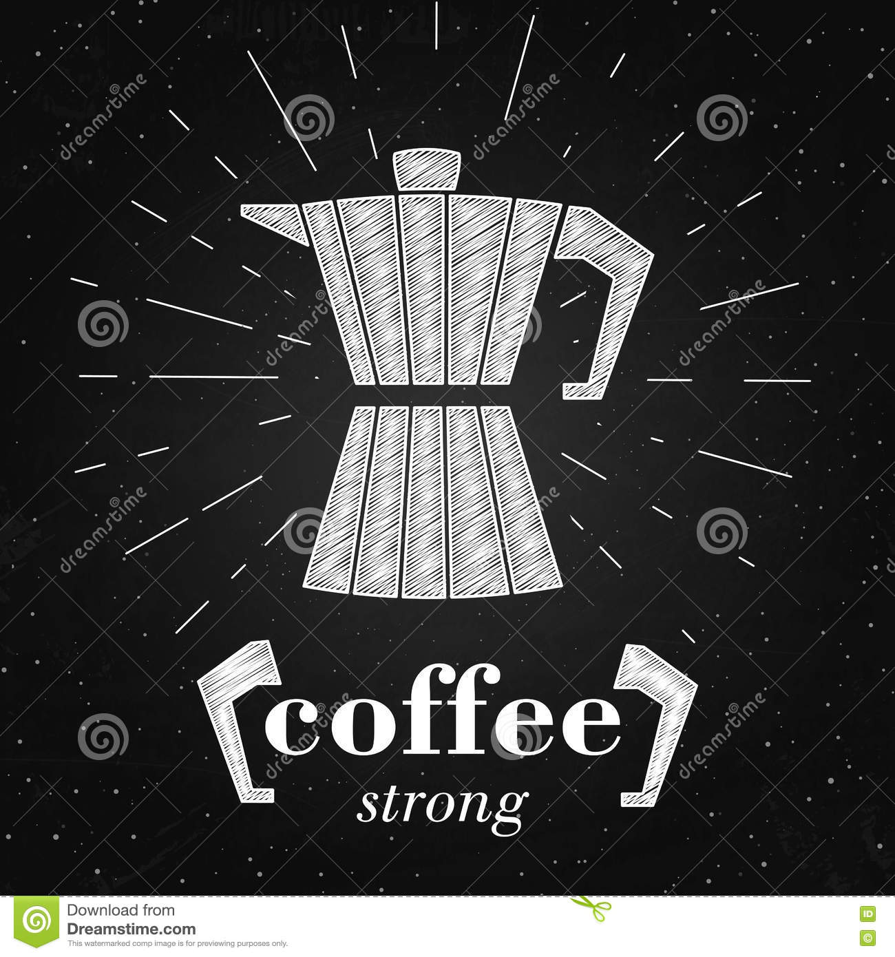 Image of: Fantastic Alfabet Vector Illustration Of Coffee Maker Typography Poster Or Banner On The Chalkboard Coffee Strong Quote Dreamstimecom Vector Illustration Of Coffee Maker Typography Poster Or Banner On