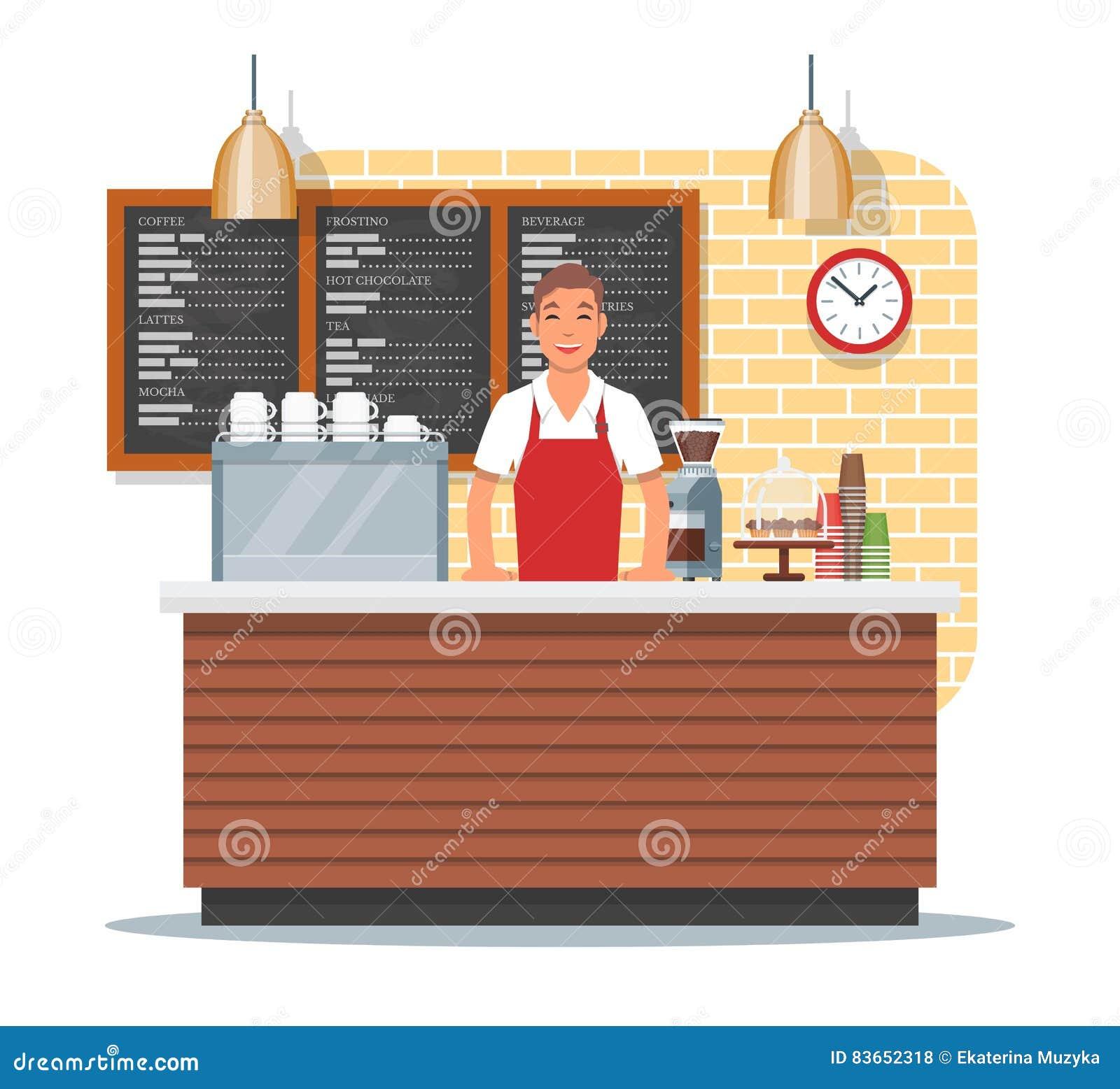 Vector Coffee Shop Illustration Cartoon Vector